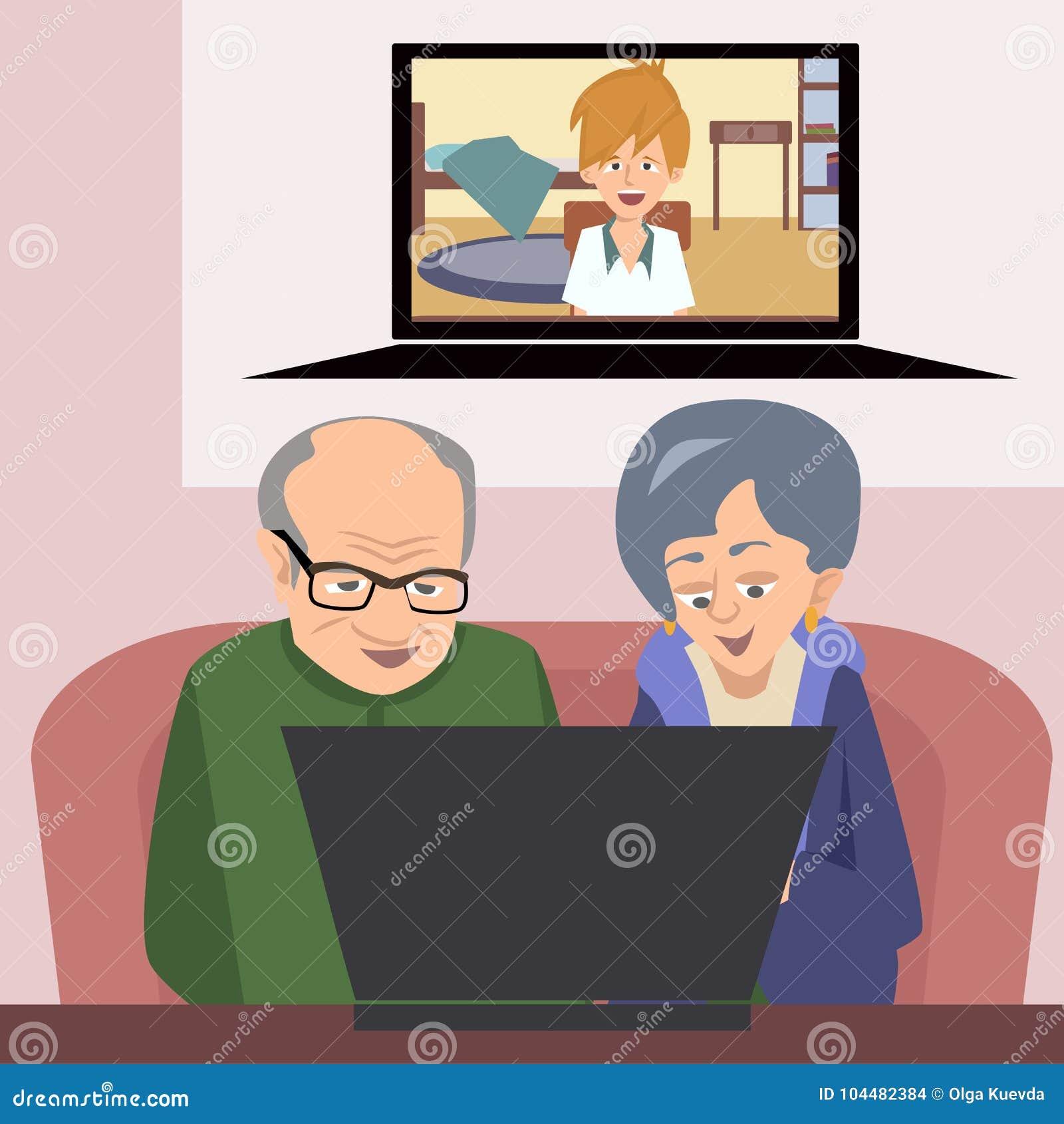 Avós que falam à família com ilustração do vetor do computador