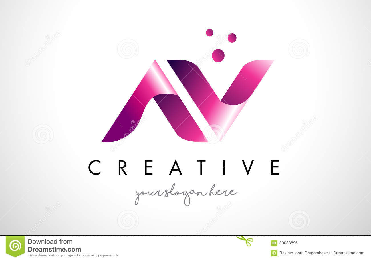 Av Letter Logo Design With Purple Colors And Dots Stock