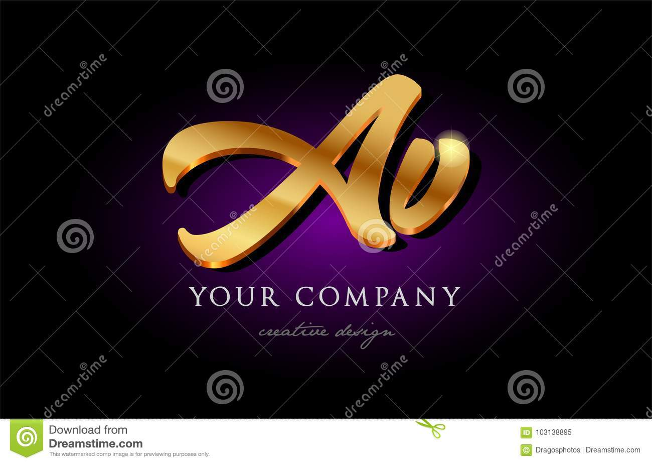 Av A V 3d Gold Golden Alphabet Letter Metal Logo Icon Design H Stock