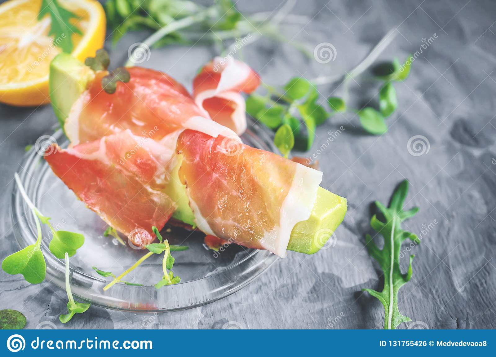 Avacado with bacon, traditional breakfast. Healthy food for weight normalization