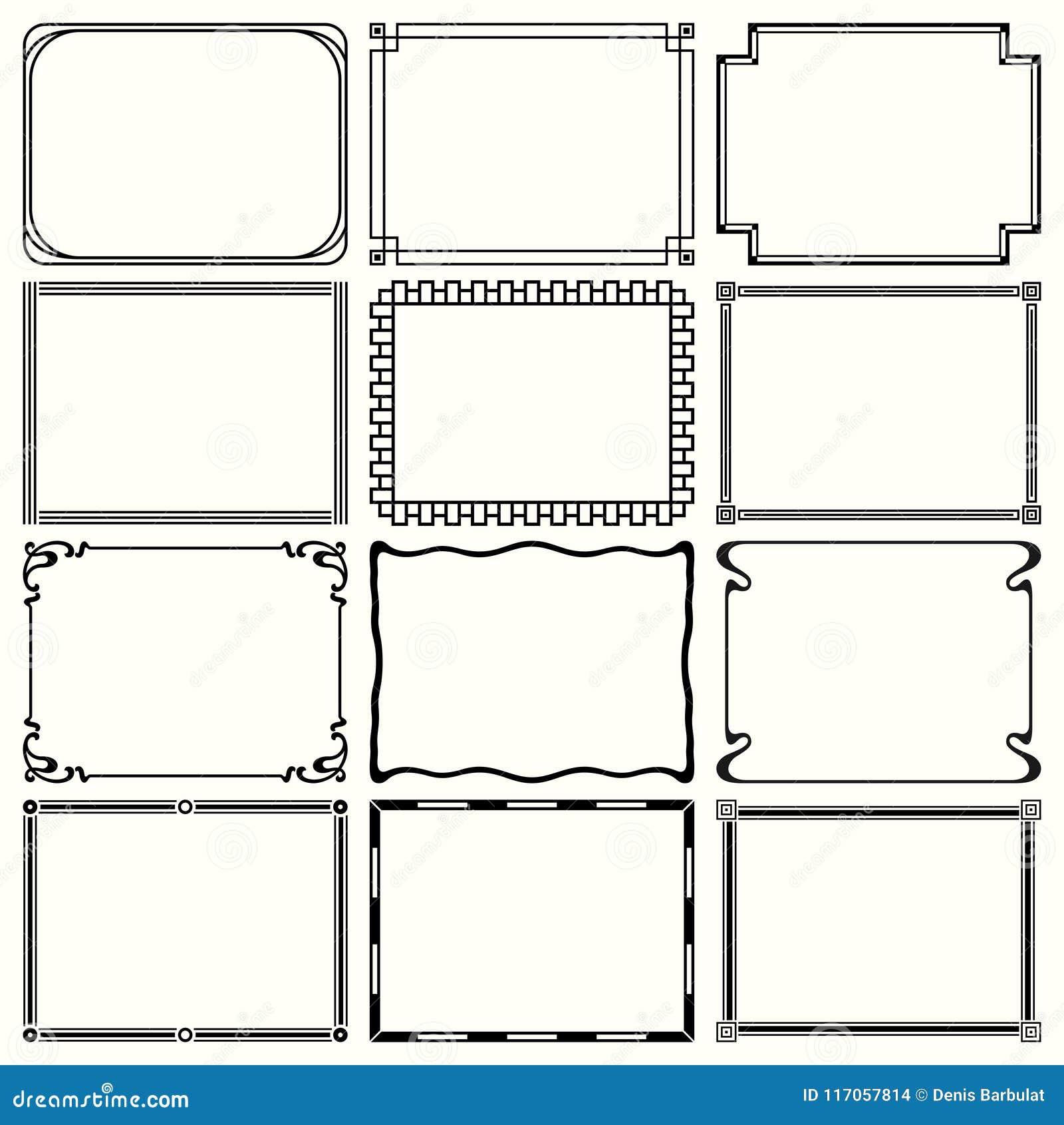 Decorative simple frames stock vector. Illustration of frame - 117057814