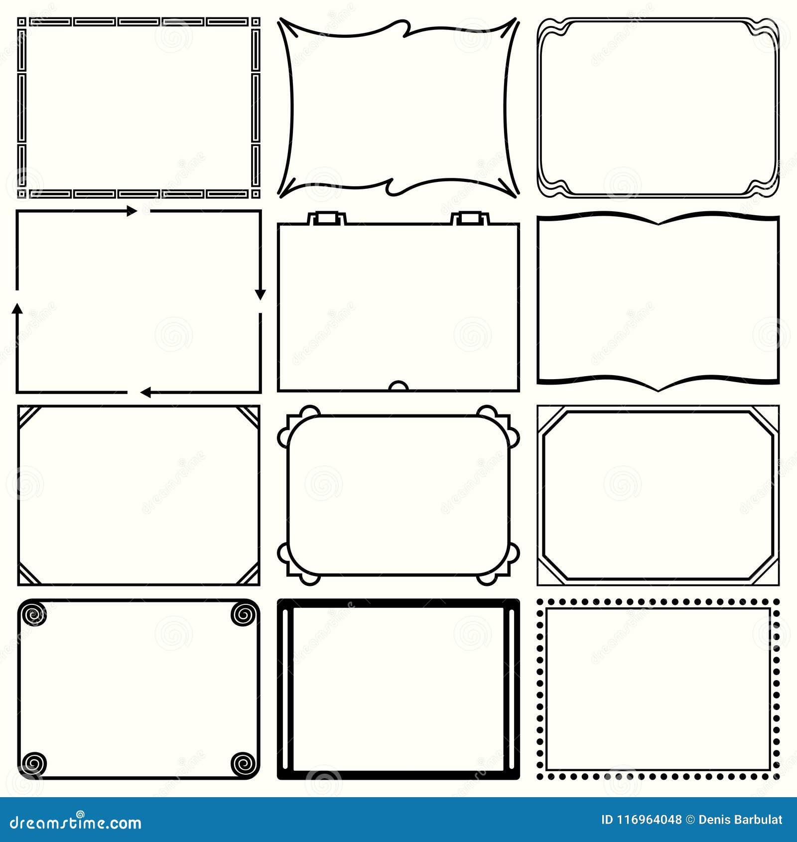 Decorative Simple Frames Set 12 Stock Vector - Illustration of deco ...