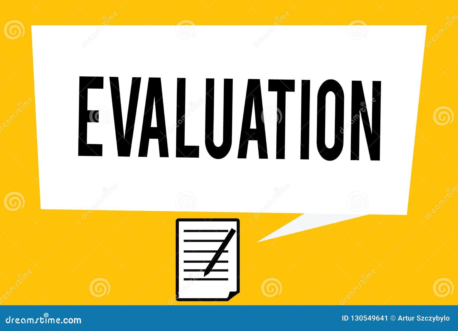 Avaliação da escrita do texto da escrita O conceito que significa o feedback do julgamento avalia o perforanalysisce da qualidade