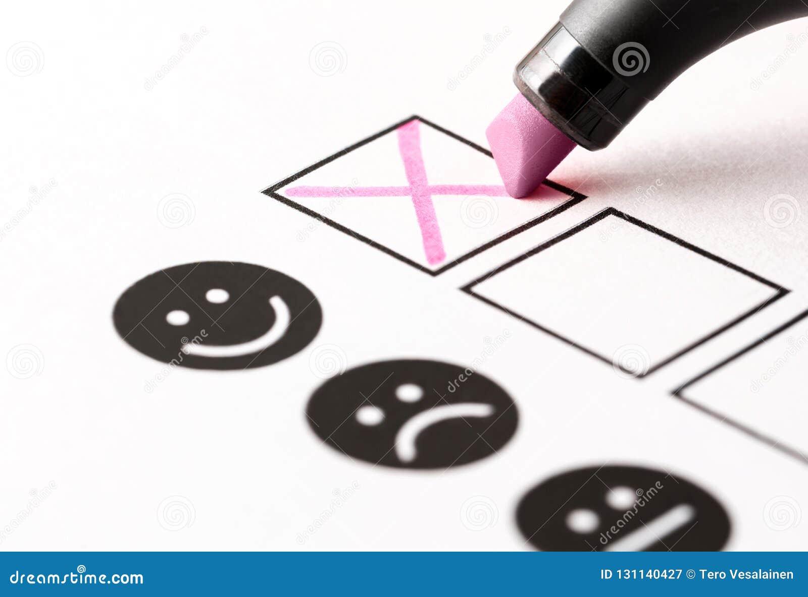 Avaliação da experiência, questionário do feedback do empregado ou conceito da votação do negócio