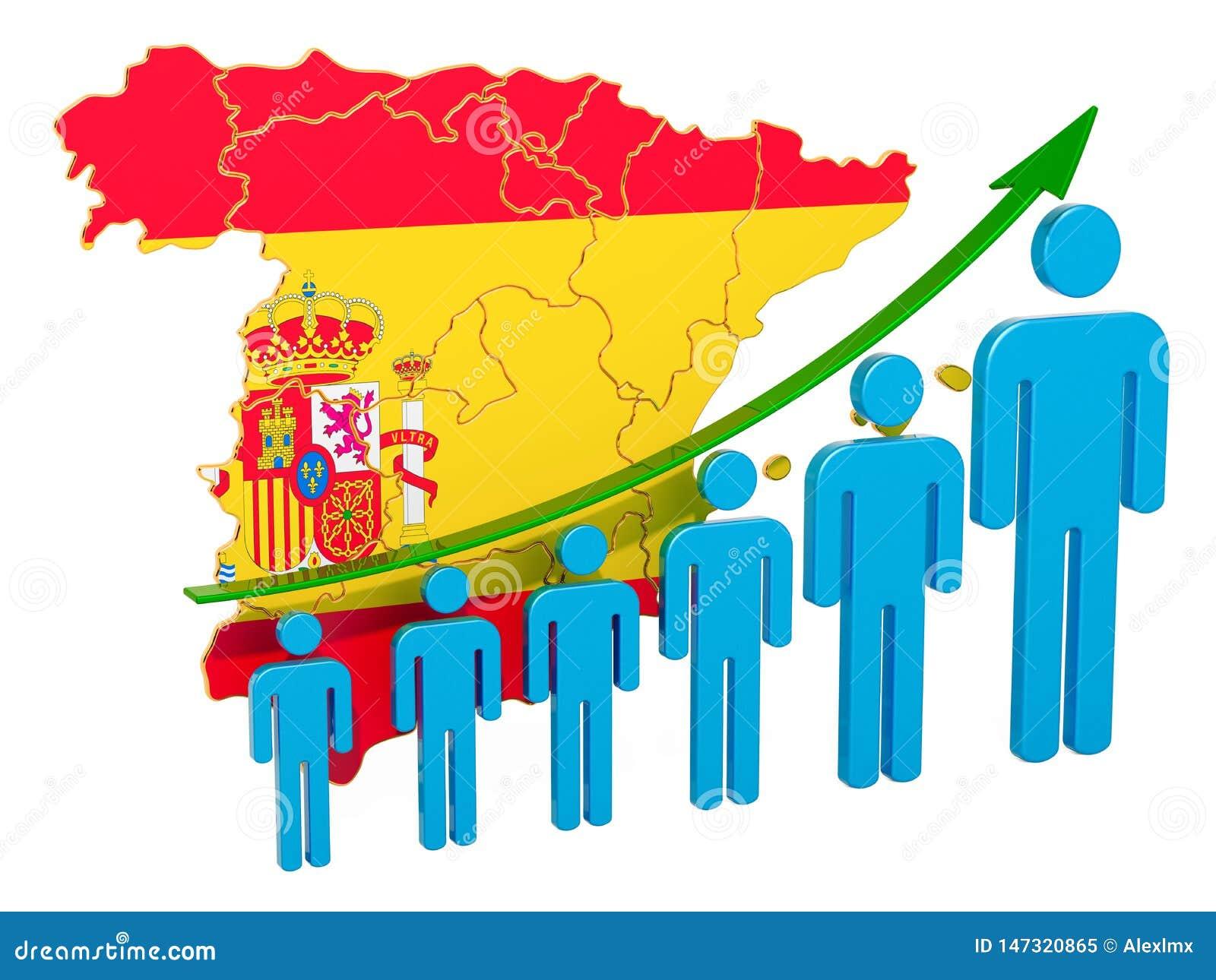 Avaliação do emprego e o desemprego ou a mortalidade e a fertilidade na Espanha, conceito rendi??o 3d