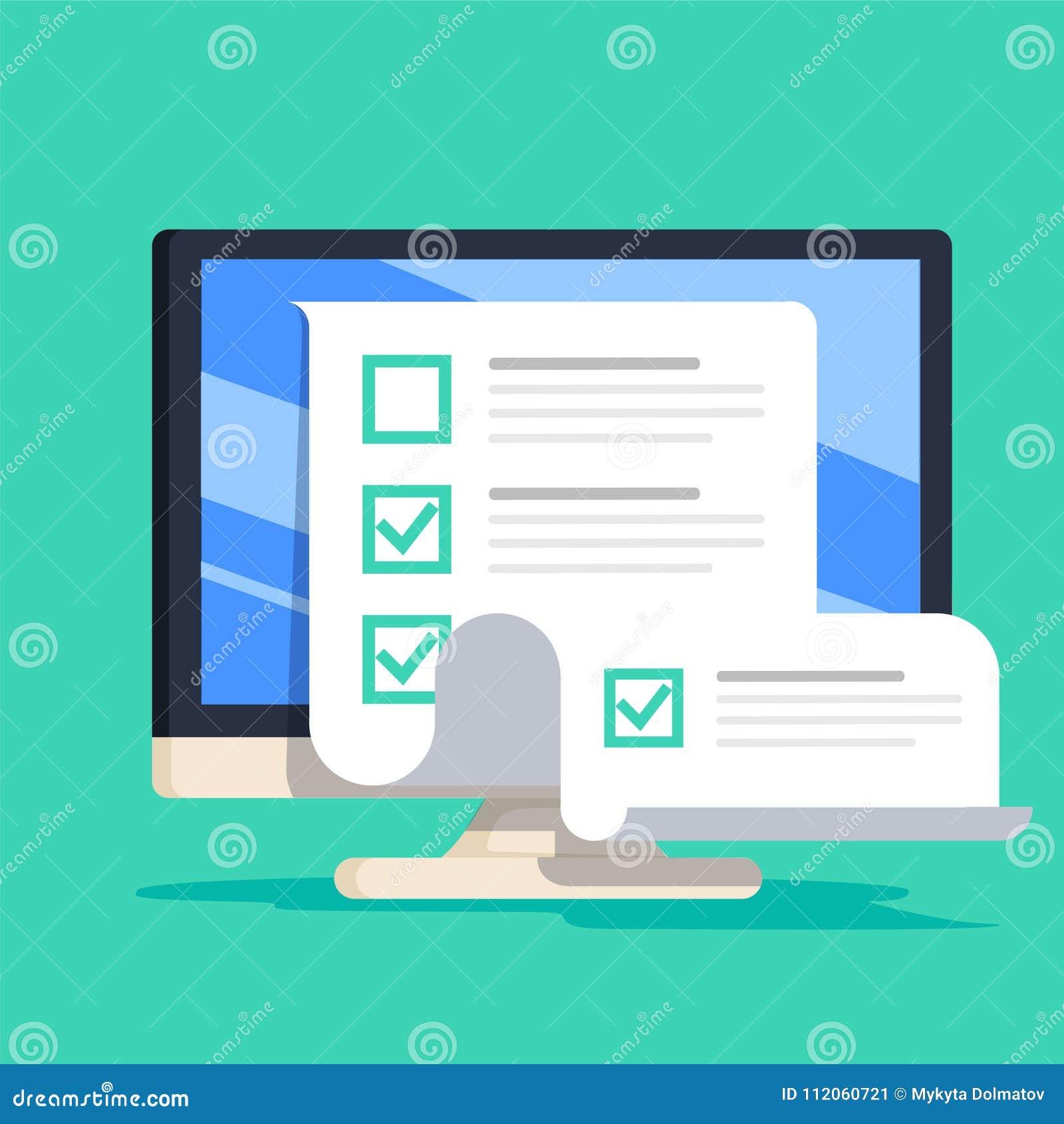 Avaliação em linha do formulário na ilustração do vetor do computador, computador de secretária liso dos desenhos animados que mo