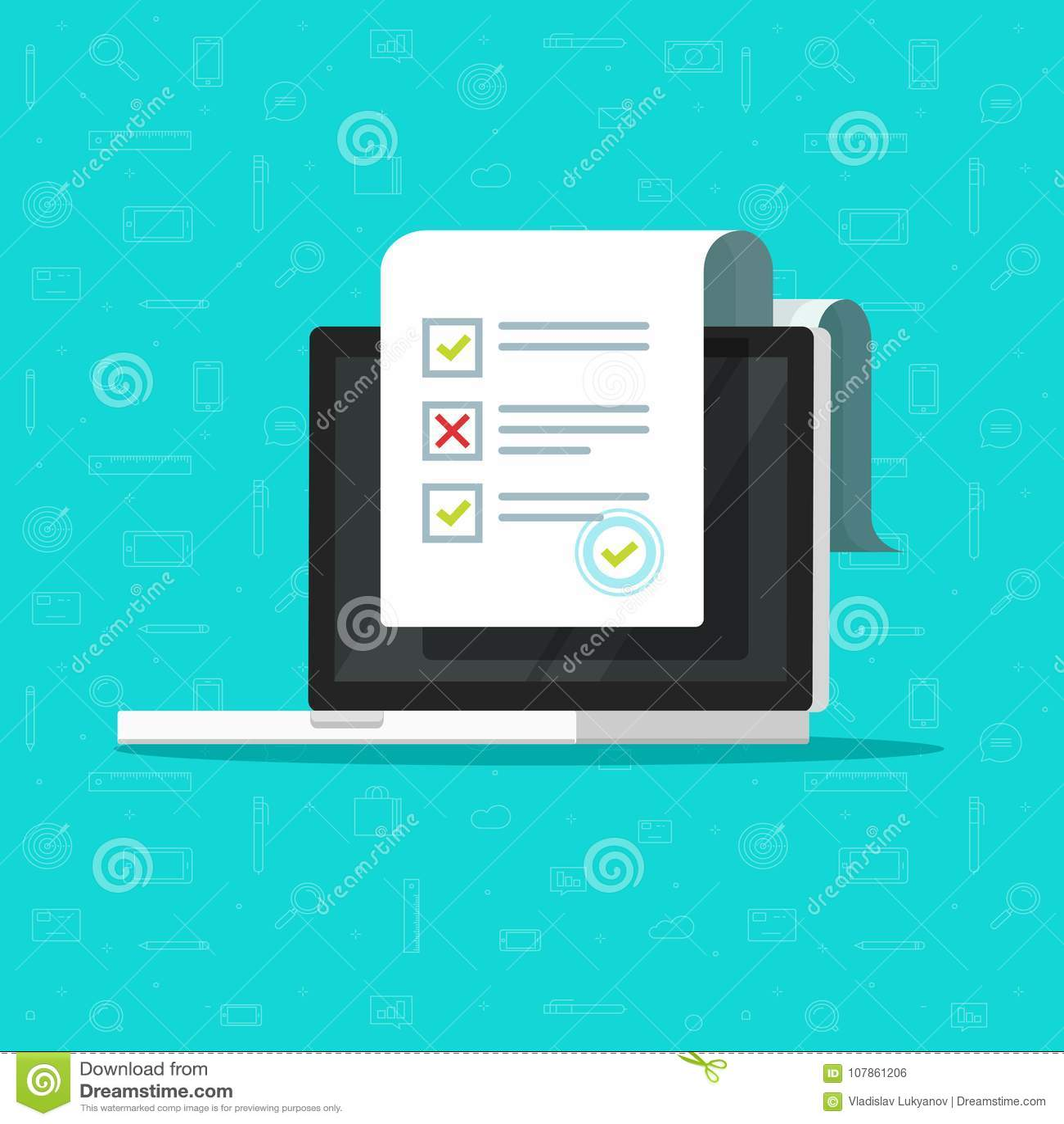 Avaliação em linha do formulário na ilustração do vetor do portátil, computador liso do projeto dos desenhos animados que mostra