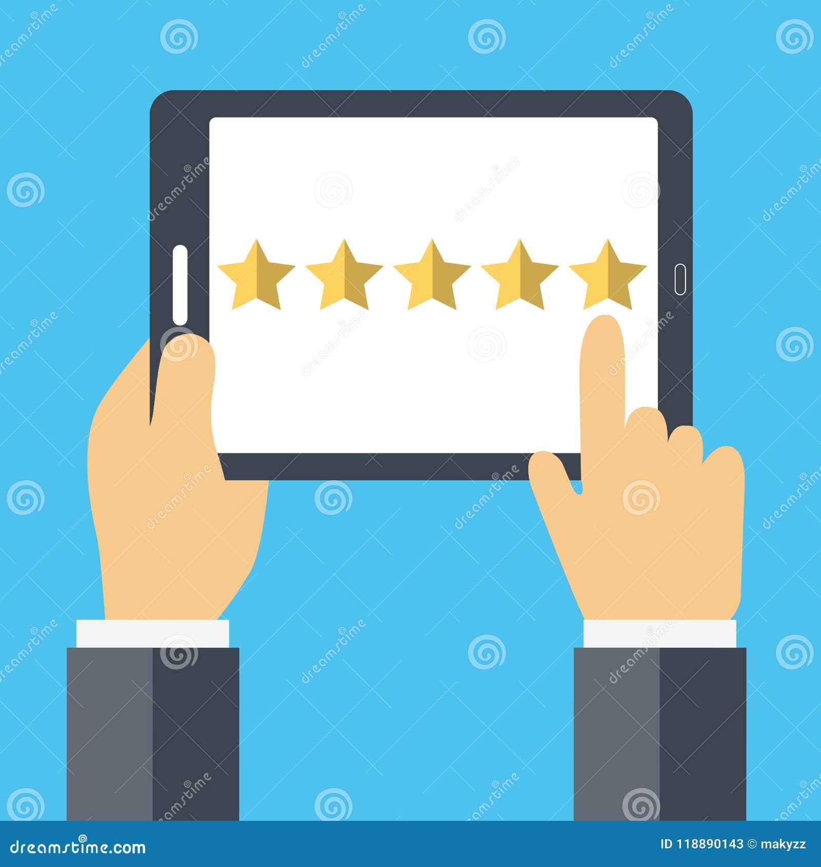 Avaliação no conceito do serviço ao cliente Feedback da avaliação do Web site e conceito da revisão Vetor liso