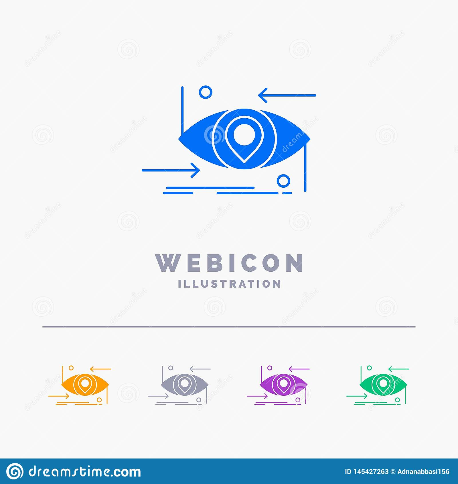 Avancé, futur, GEN, la science, technologie, calibre d icône de Web de Glyph de couleur de l oeil 5 d isolement sur le blanc Illu
