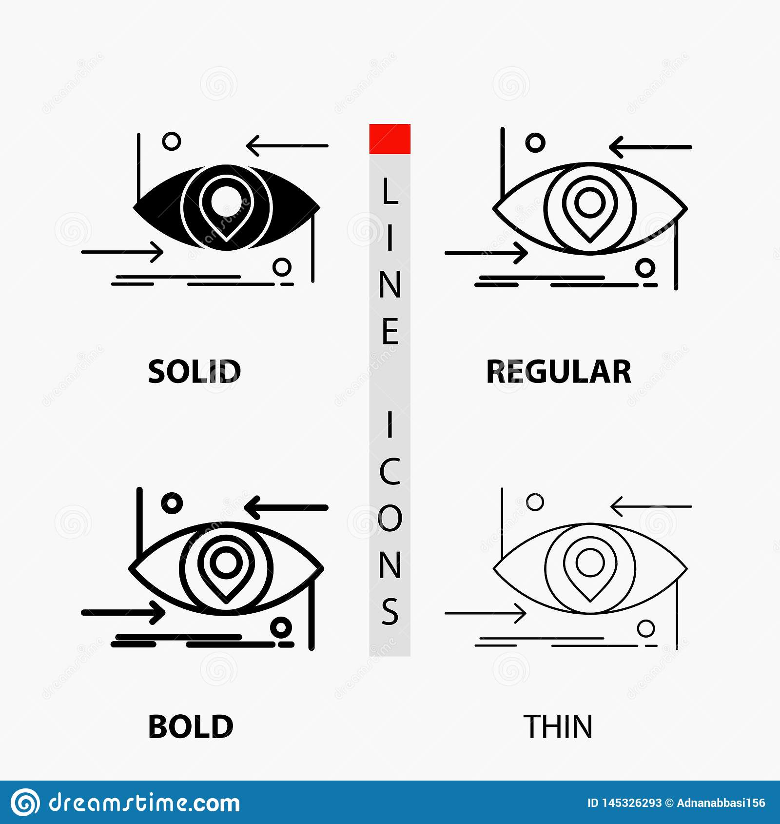 Avancé, futur, GEN, la science, technologie, icône d oeil dans la ligne et le style minces, réguliers, audacieux de Glyph Illustr