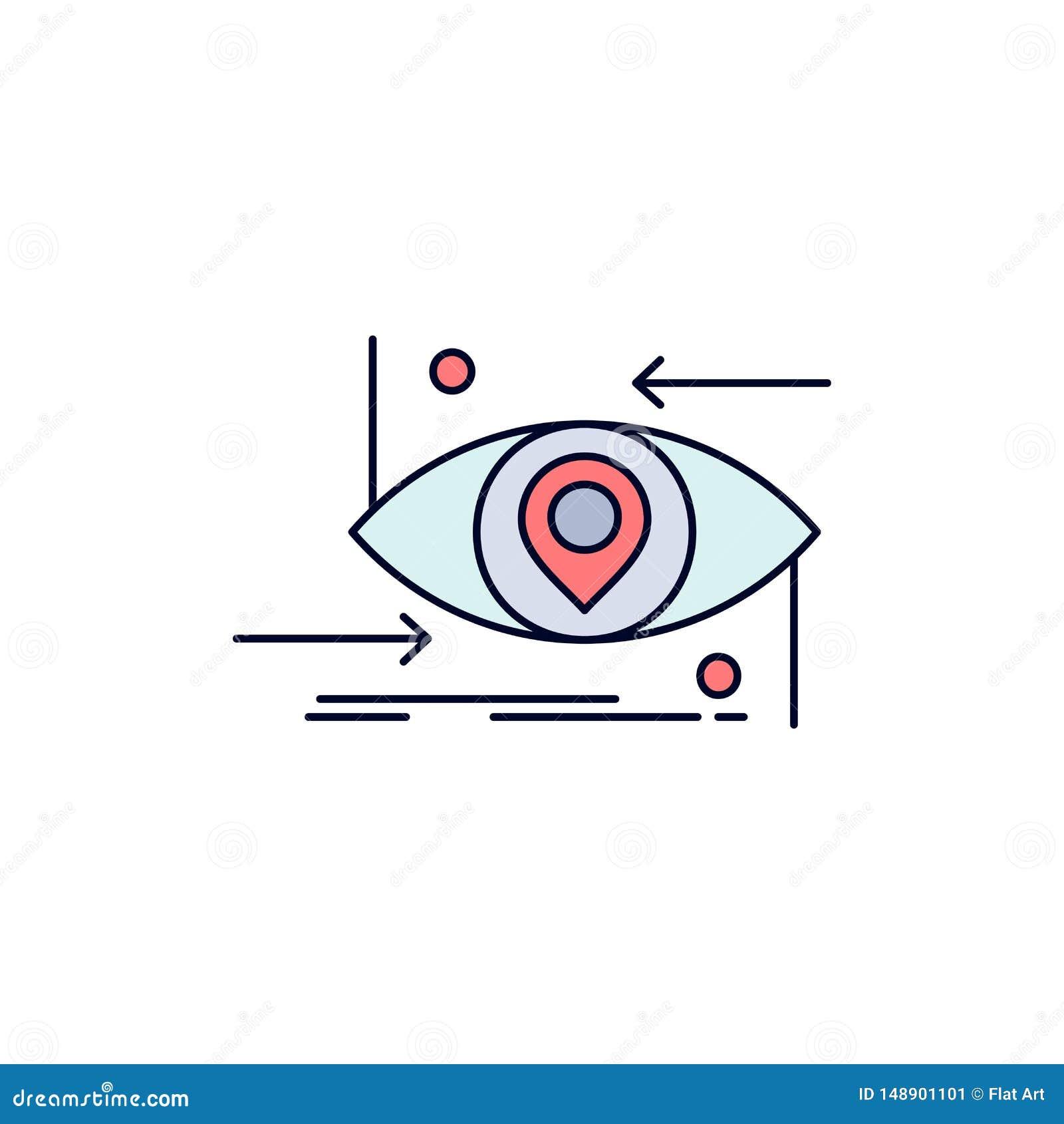 Avancé, futur, GEN, la science, technologie, vecteur plat d icône de couleur d oeil