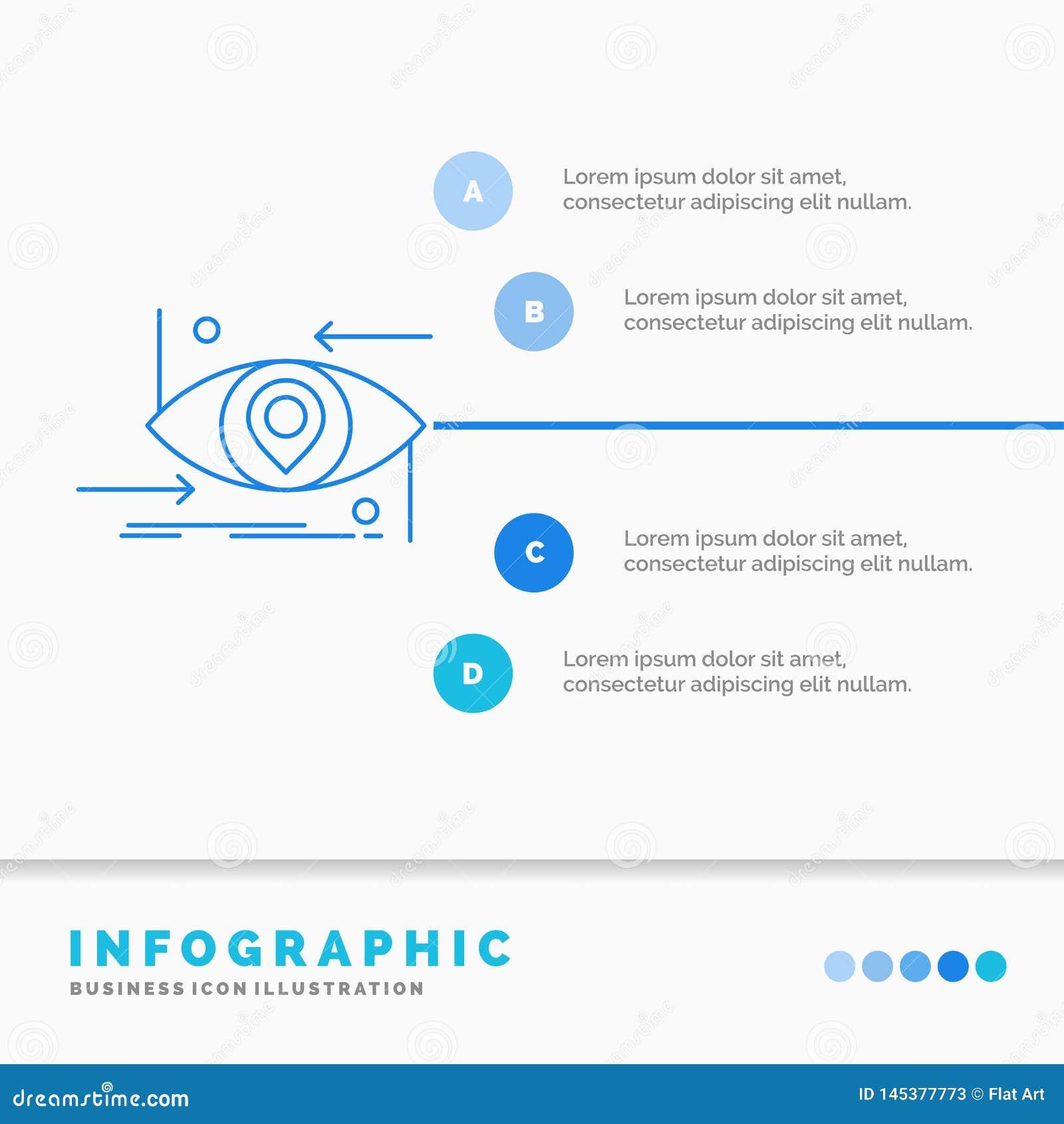 Avancé, futur, GEN, science, technologie, calibre d Infographics d oeil pour le site Web et présentation Ligne ic?ne bleue infogr
