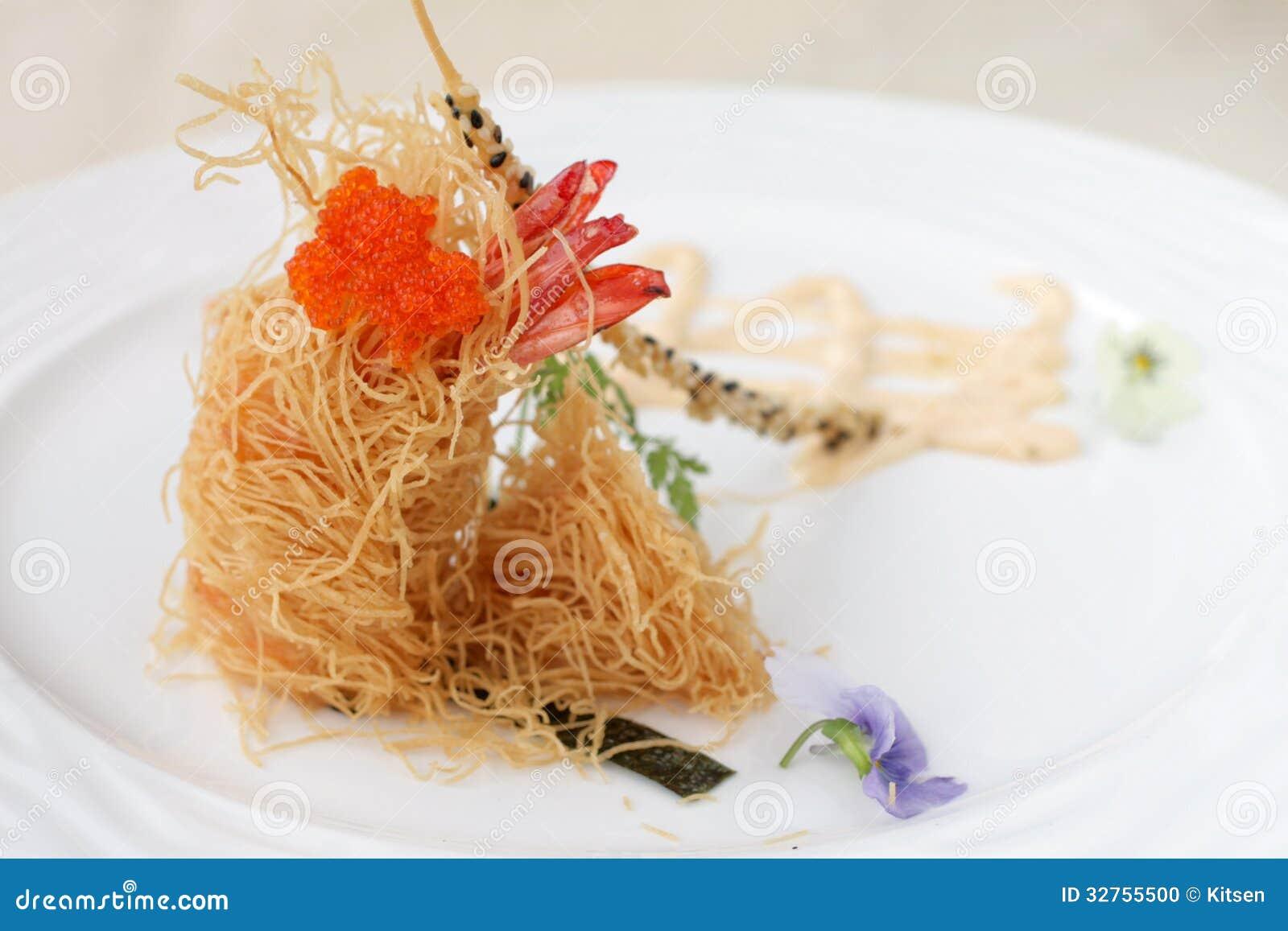Avant garde fried prawn stock photo image 32755500 for Avant garde cuisine