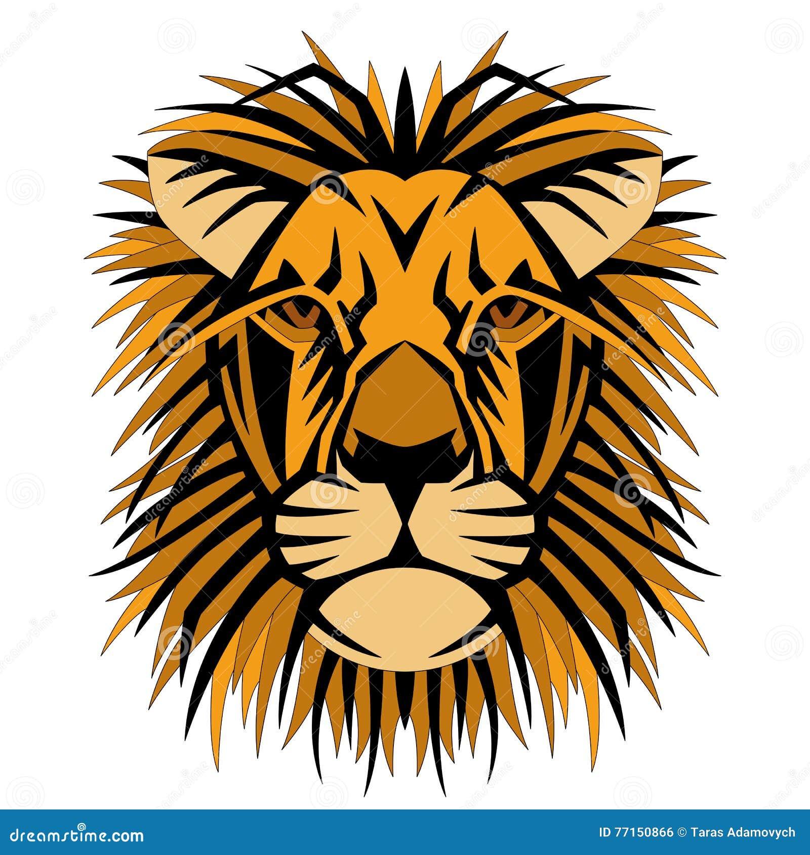 Avant principal de côté de style de vecteur de visage de lion