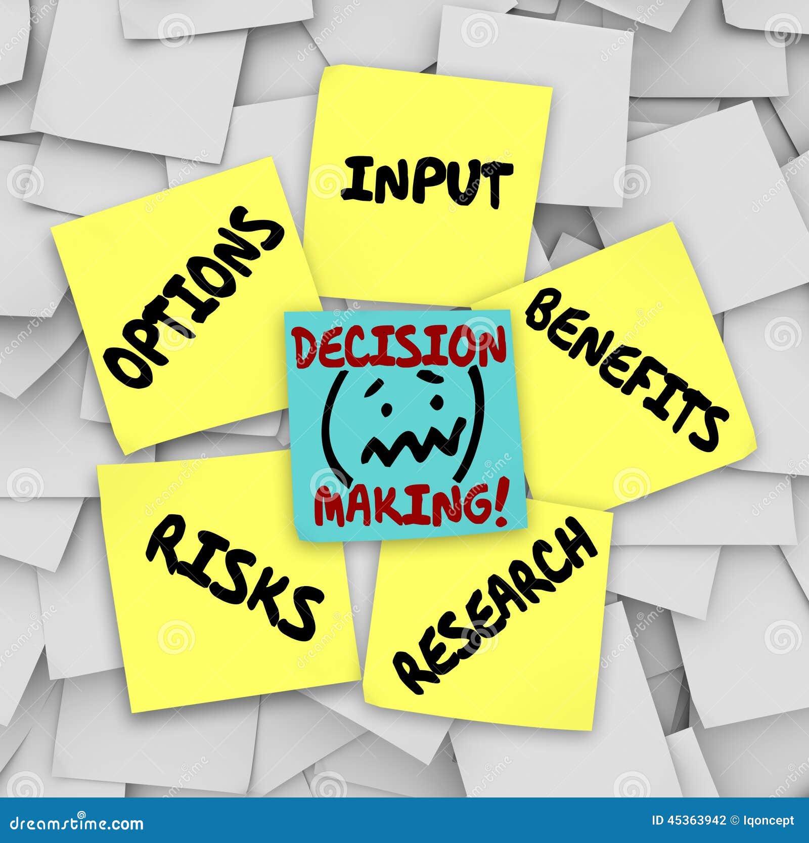 Avantages collants Resear de risques d options d entrée de notes de prise de décision