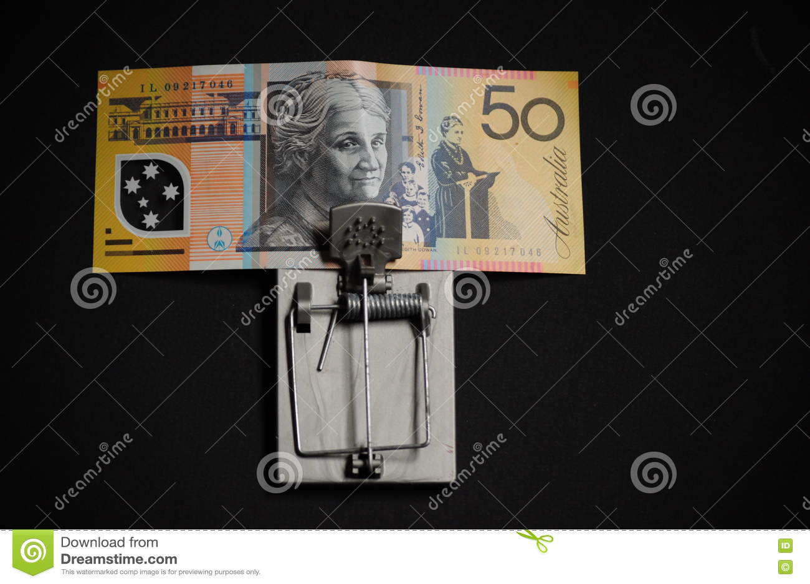 Avaricia y australiano financiero de la trampa de la tentación cincuenta dólares