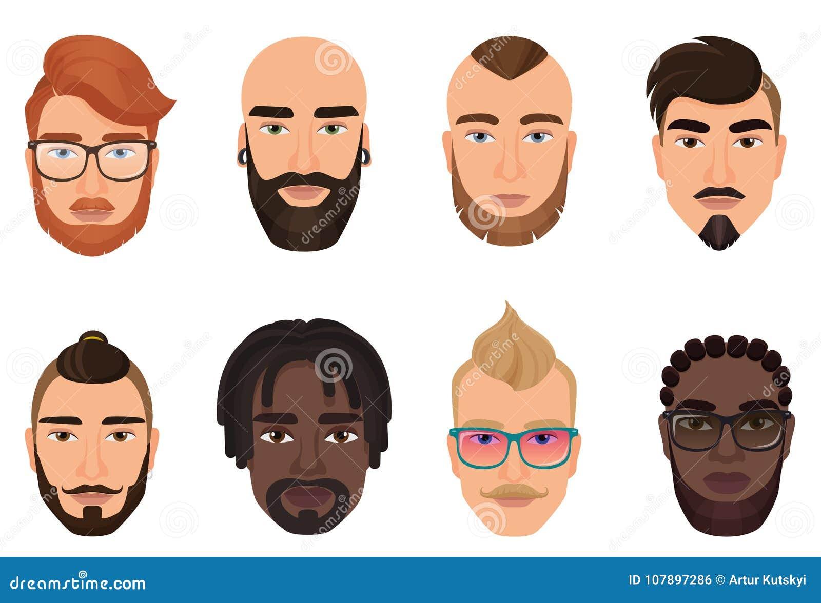 Avatar barbuti dei tipi degli uomini dei pantaloni a vita bassa del fumetto con le acconciature, i baffi moderni e le barbe isola