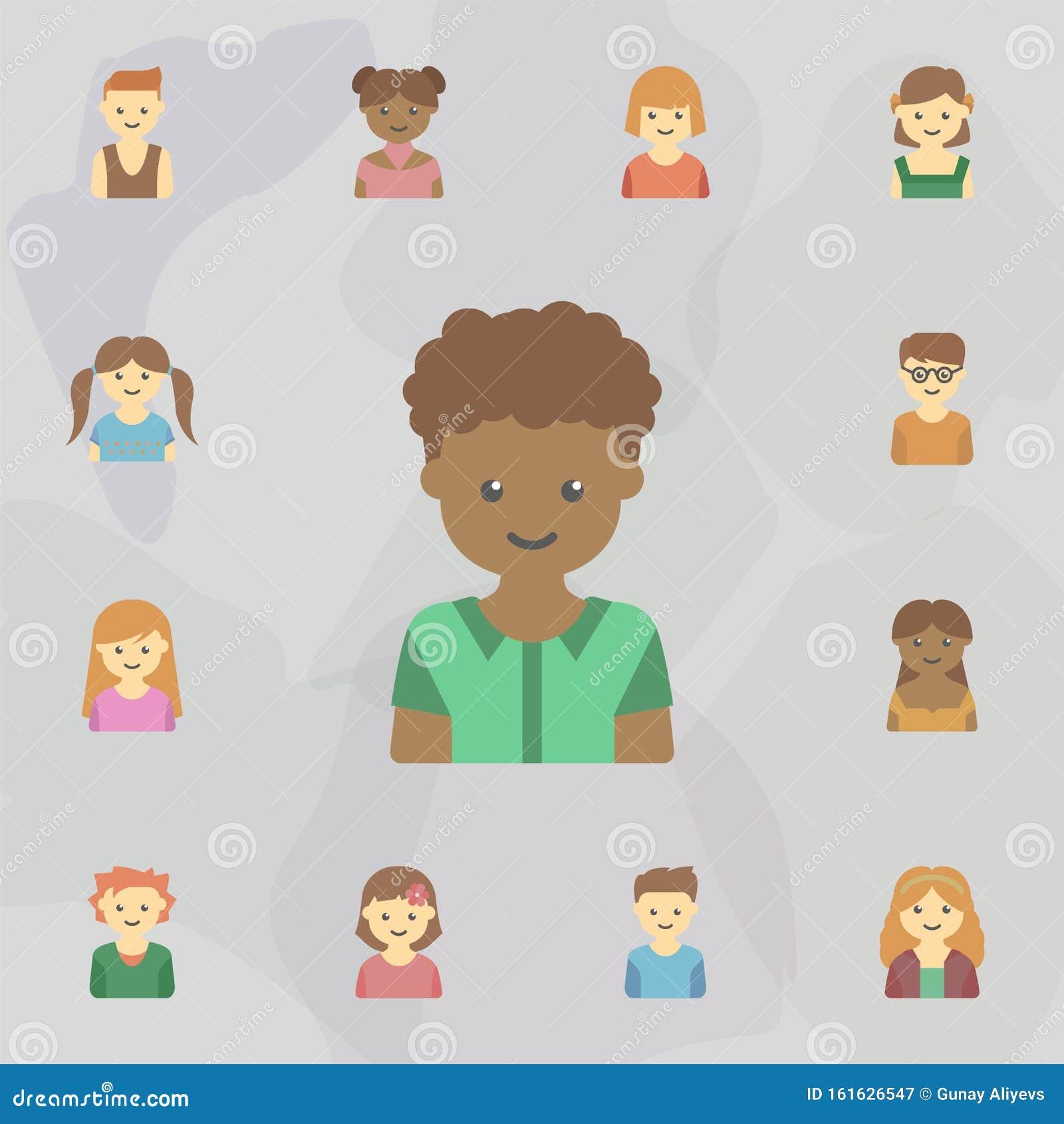 Avatar Of Black Guy Colored Icon Universal Set Of Kids Avatars For Website Design And Development App Development Stock Illustration Illustration Of Happy Icon 161626547