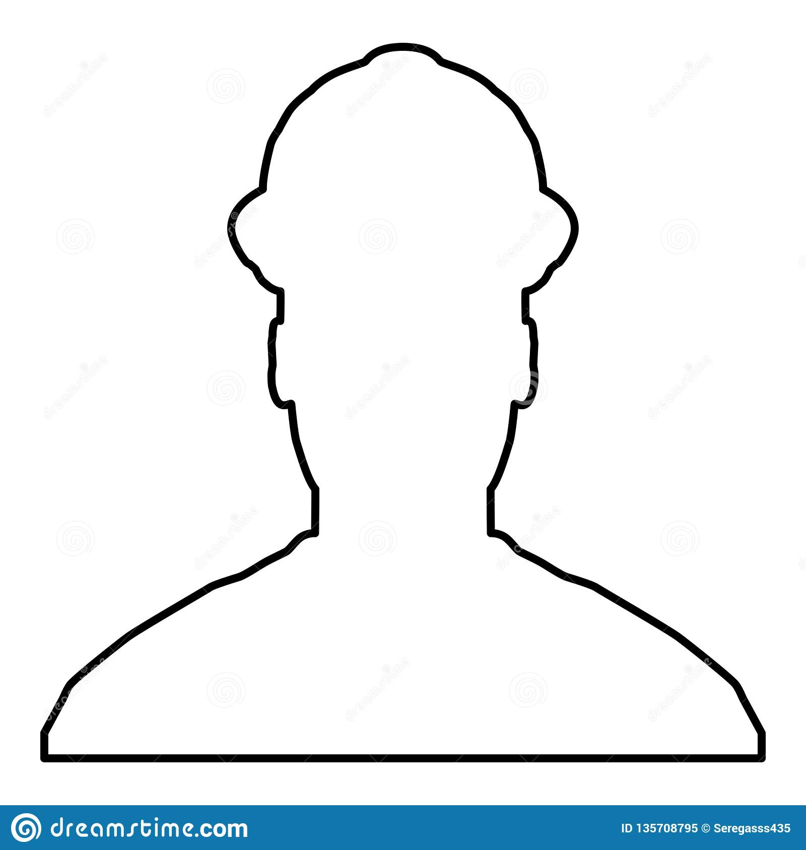 Avatar builder architect engineer in helmet view icon black color vector illustration flat style image