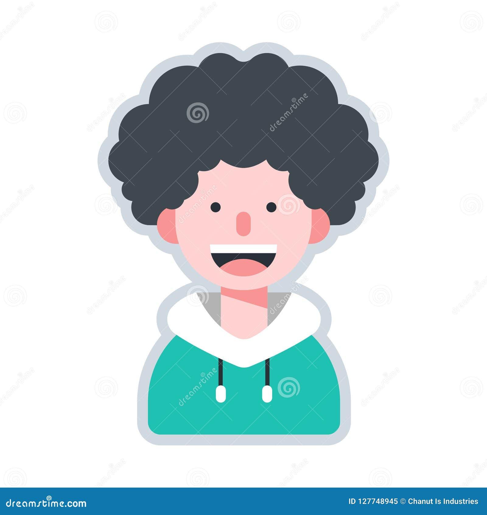 Avatar Curly Hair Flat Illustration Stock Vector Illustration Of