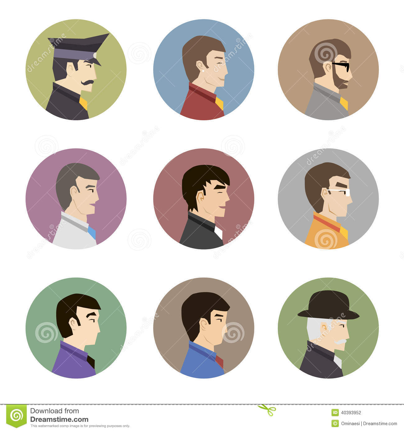 Flat Design Character Download : Avatar collection of stylish handsome male characters in