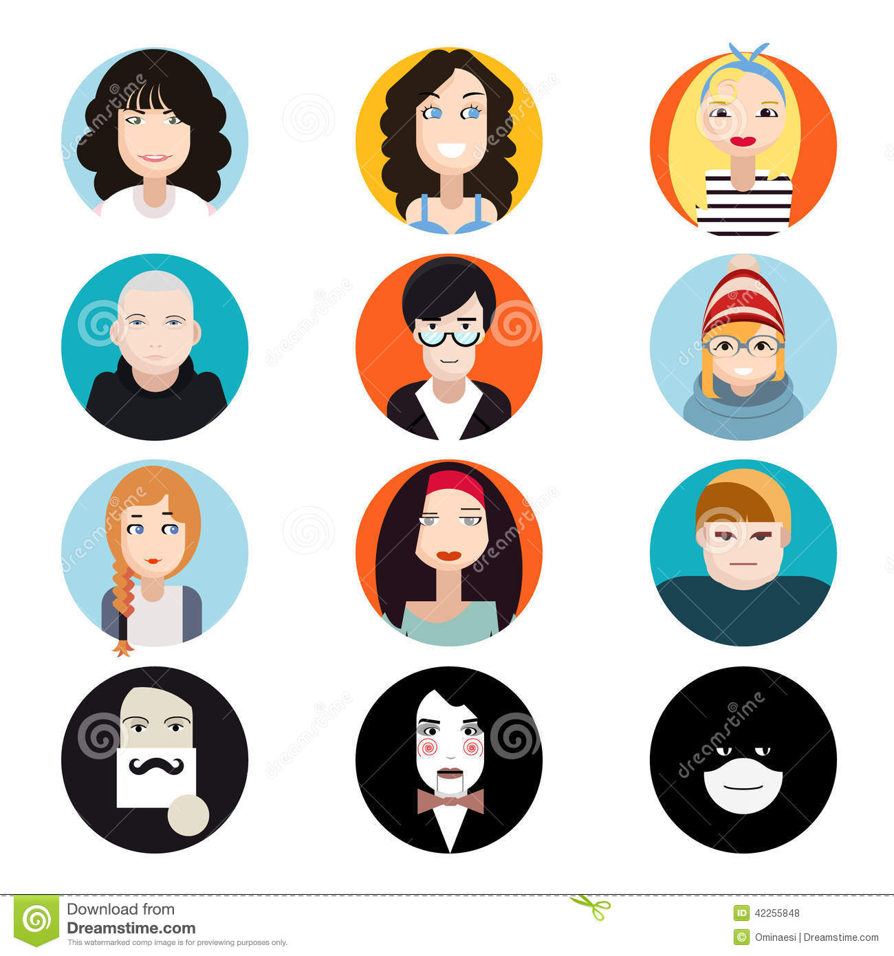 Character Design Icon : Avatar collection of stylish handsome male and stock