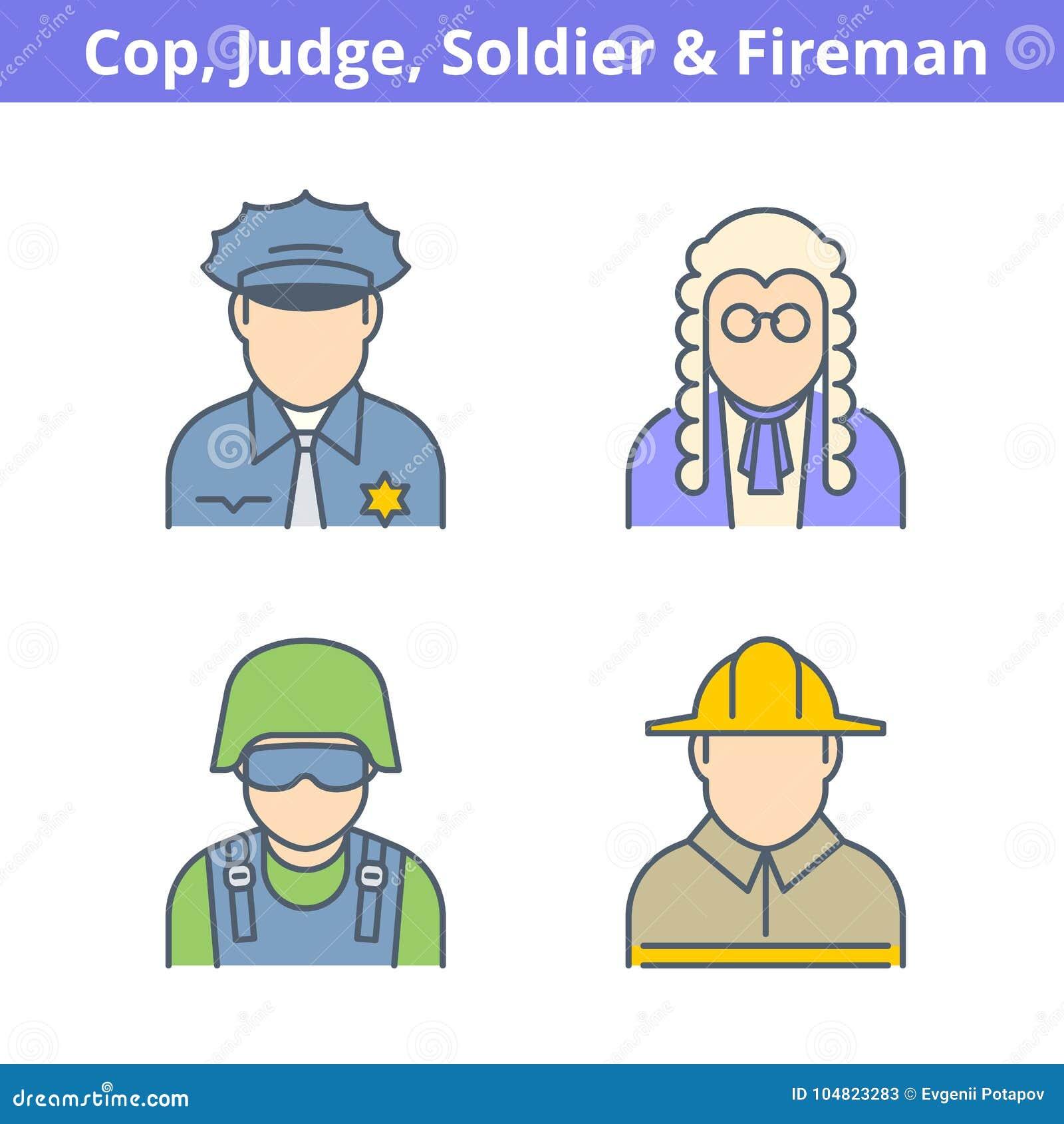 Avatar coloré de professions réglé : juge, policier, pompier, vendu