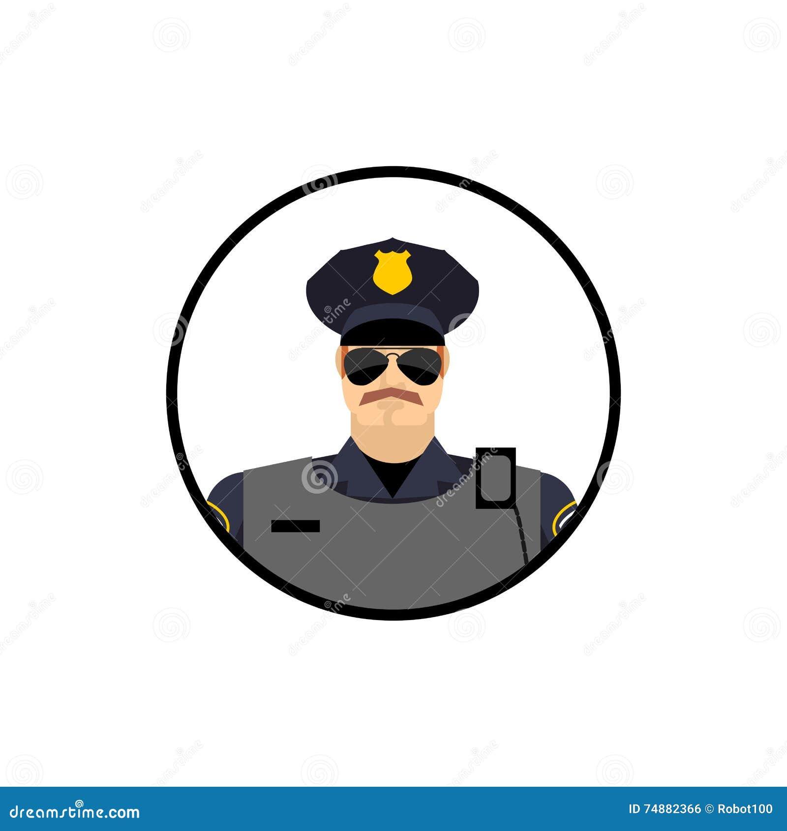 Avatar da polícia Bobina no uniforme Agente da polícia principal no círculo