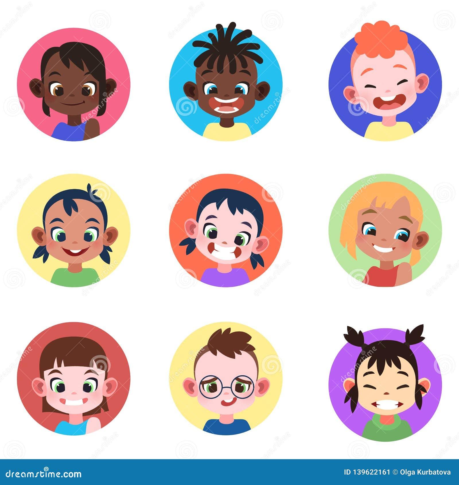 Avatar das crianças Dos avatars bonitos das meninas dos meninos das crianças da infância das caras usuário de Web principal do ca