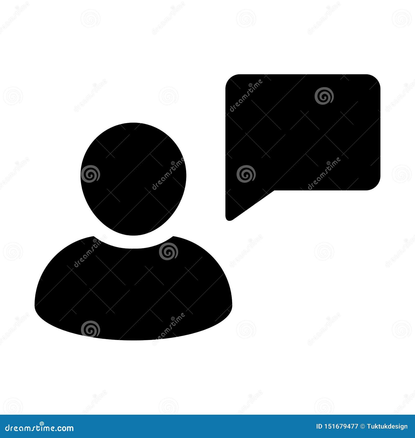 Avatar de profil de personne masculine de vecteur d icône d entretien avec le symbole de bulle de la parole pour la discussion et