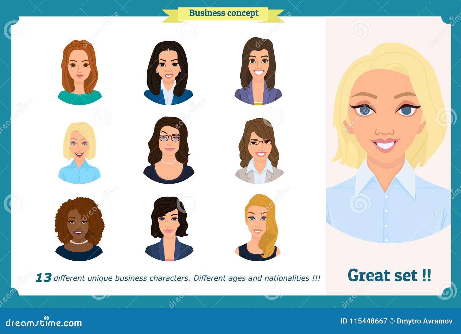 Avatar della donna di affari messi con il fronte sorridente raccolta delle icone del gruppo Vettore su bianco Donna sveglia in ve