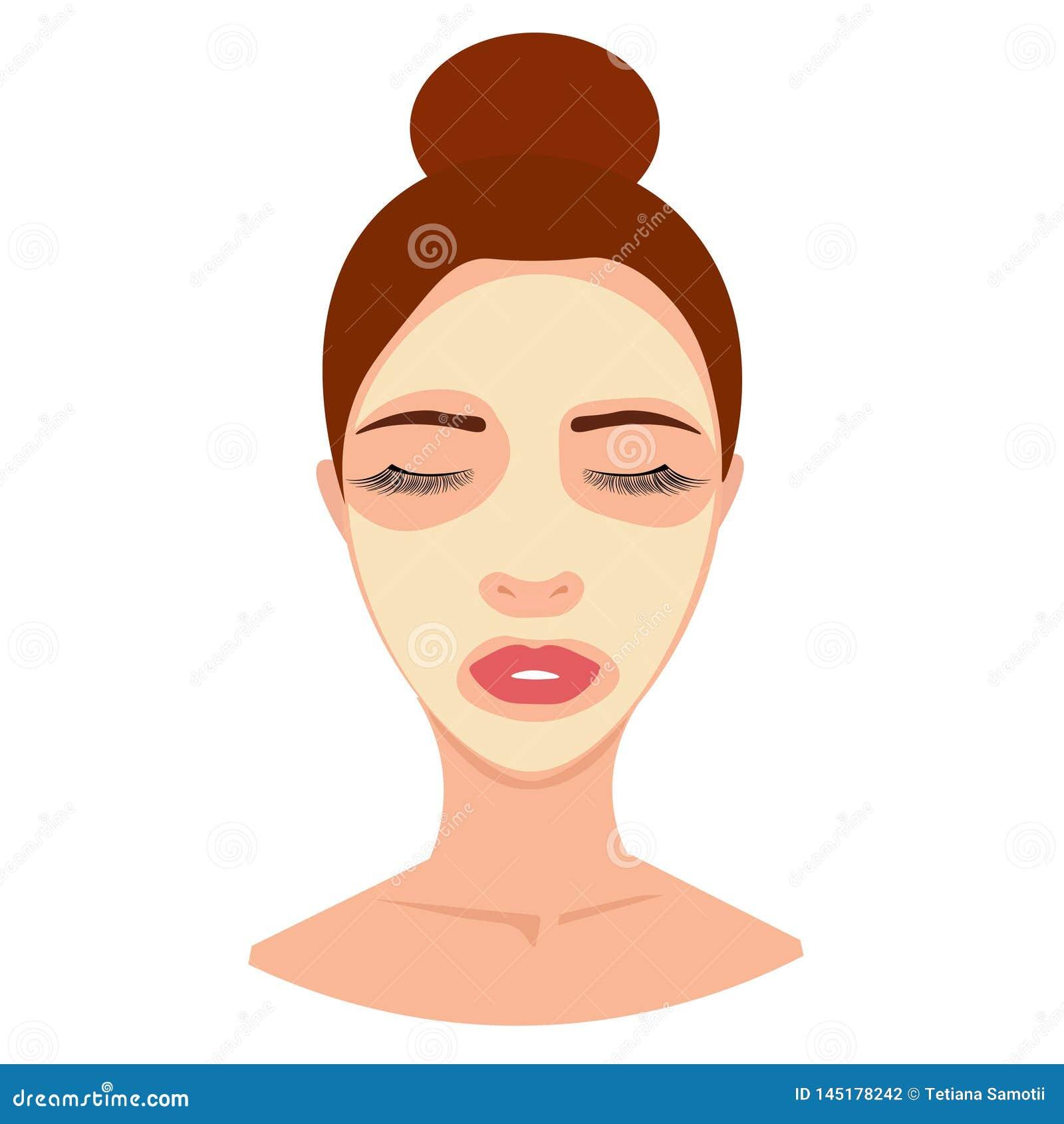 Avatar dos TERMAS da Web da jovem mulher na máscara cosmética, creme, tratamento da pele