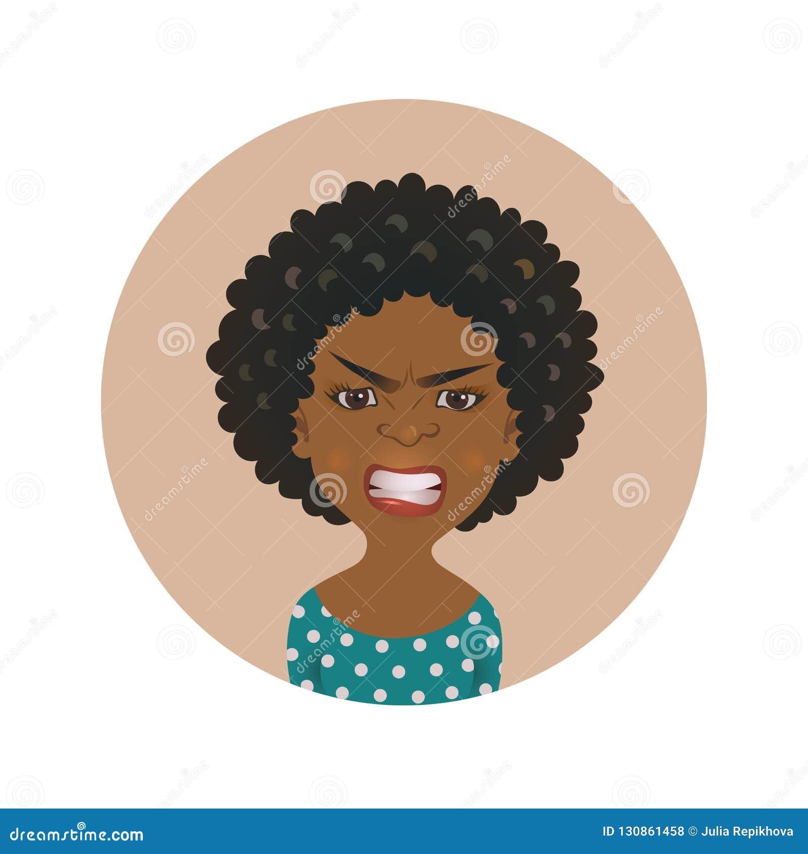 Avatar fâché afro-américain de visage de femme Expression du visage africaine de colère de fille Personne à la peau foncée dans l