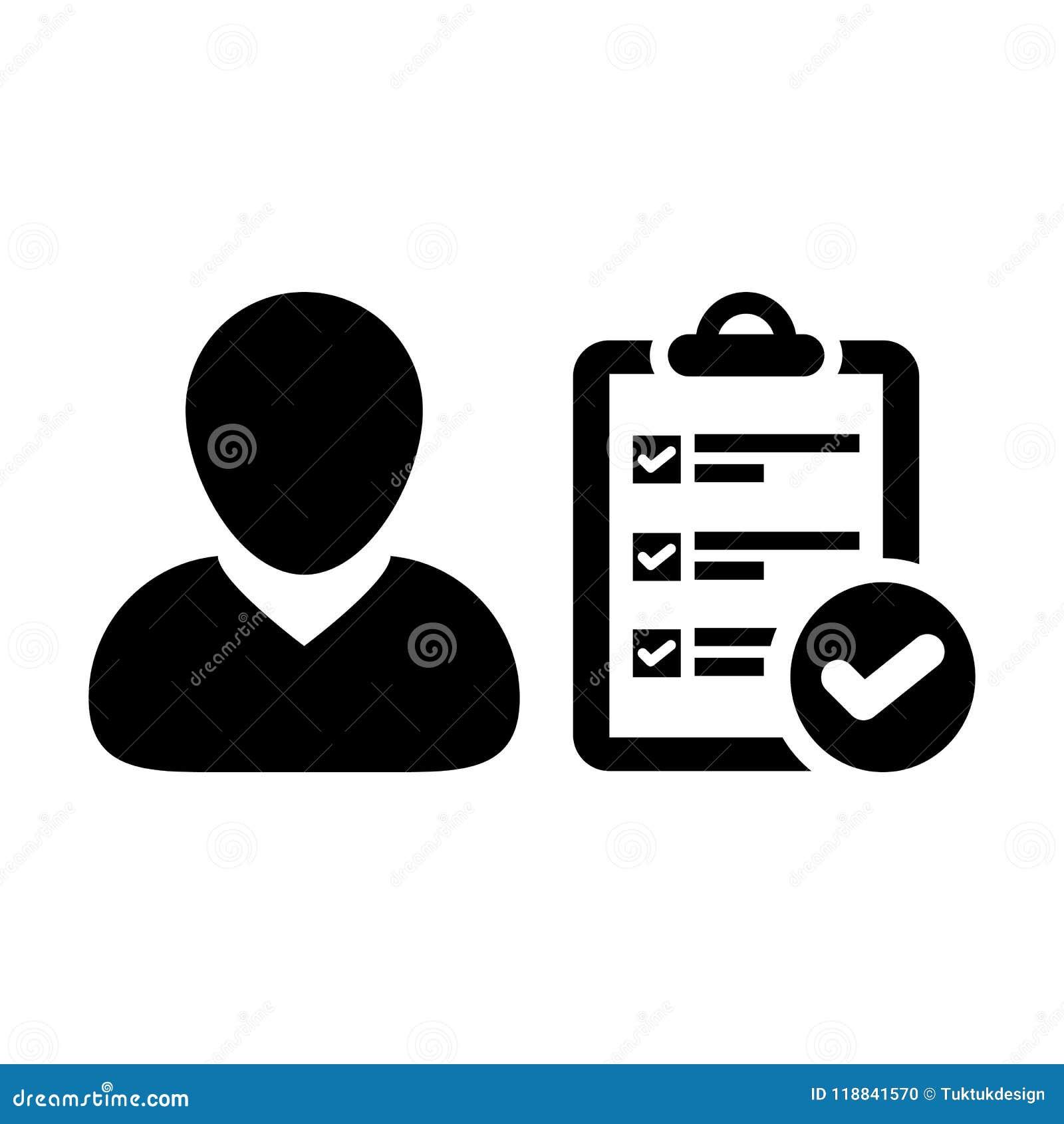 Avatar för profil för manlig person för skrivplattasymbolsvektor med dokumentet för granskningskontrollistarapport och fästingsym