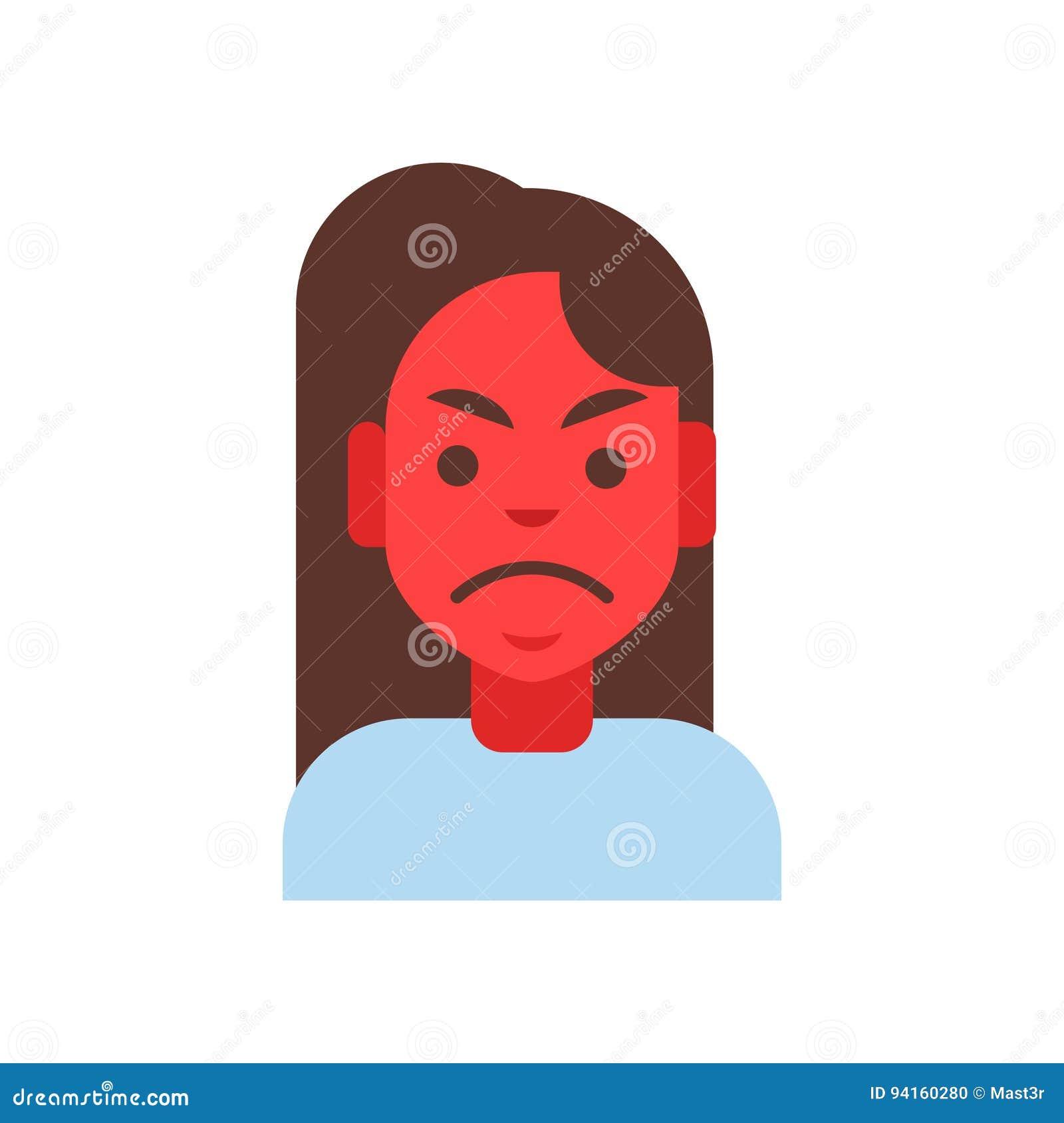 avatar femminile di emozione dell icona di profilo viso arrossato arrabbiato del ritratto del fumetto