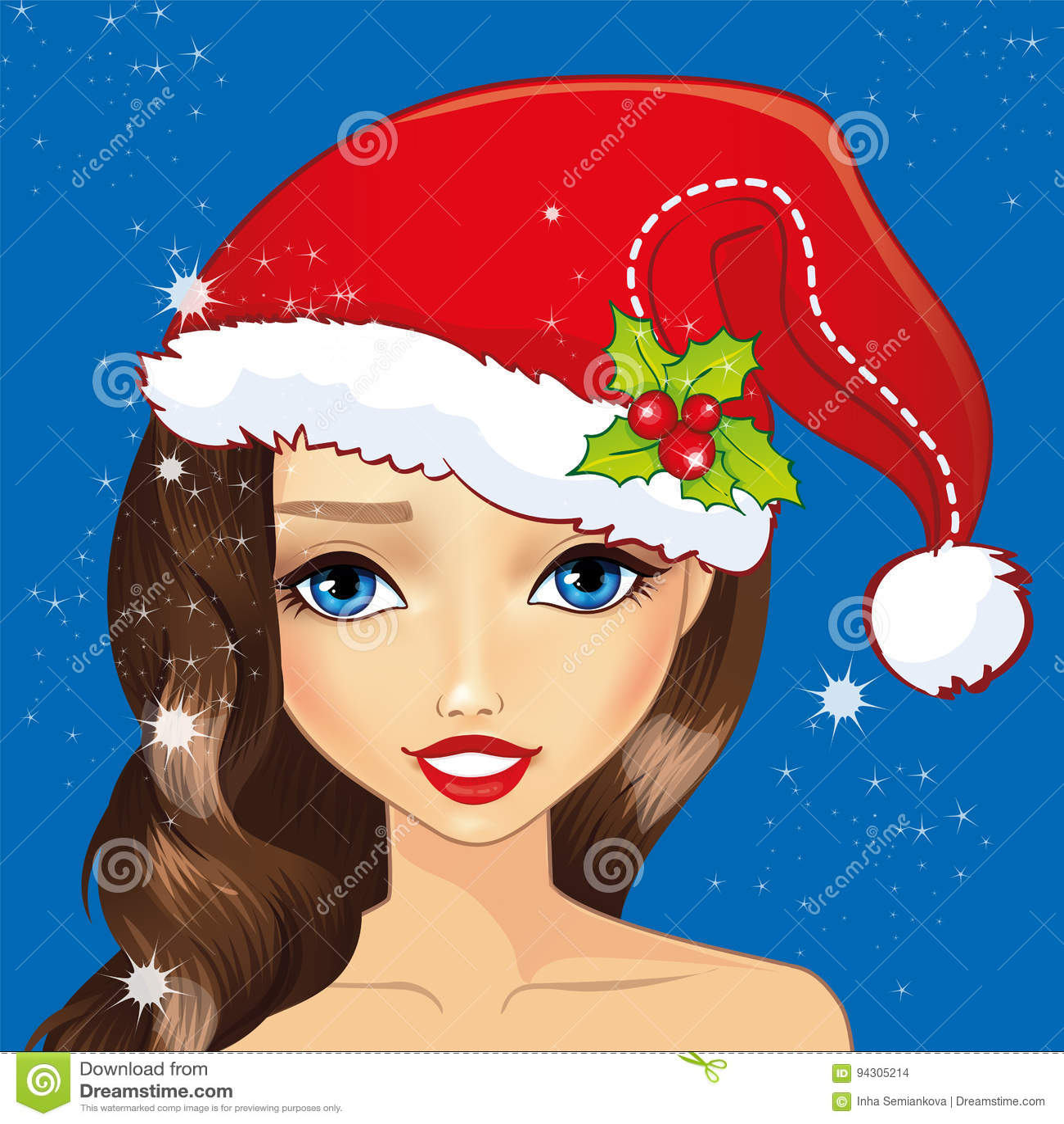 7df2dd40de958 Avatar Girl With Christmas Hat Stock Vector - Illustration of trendy ...