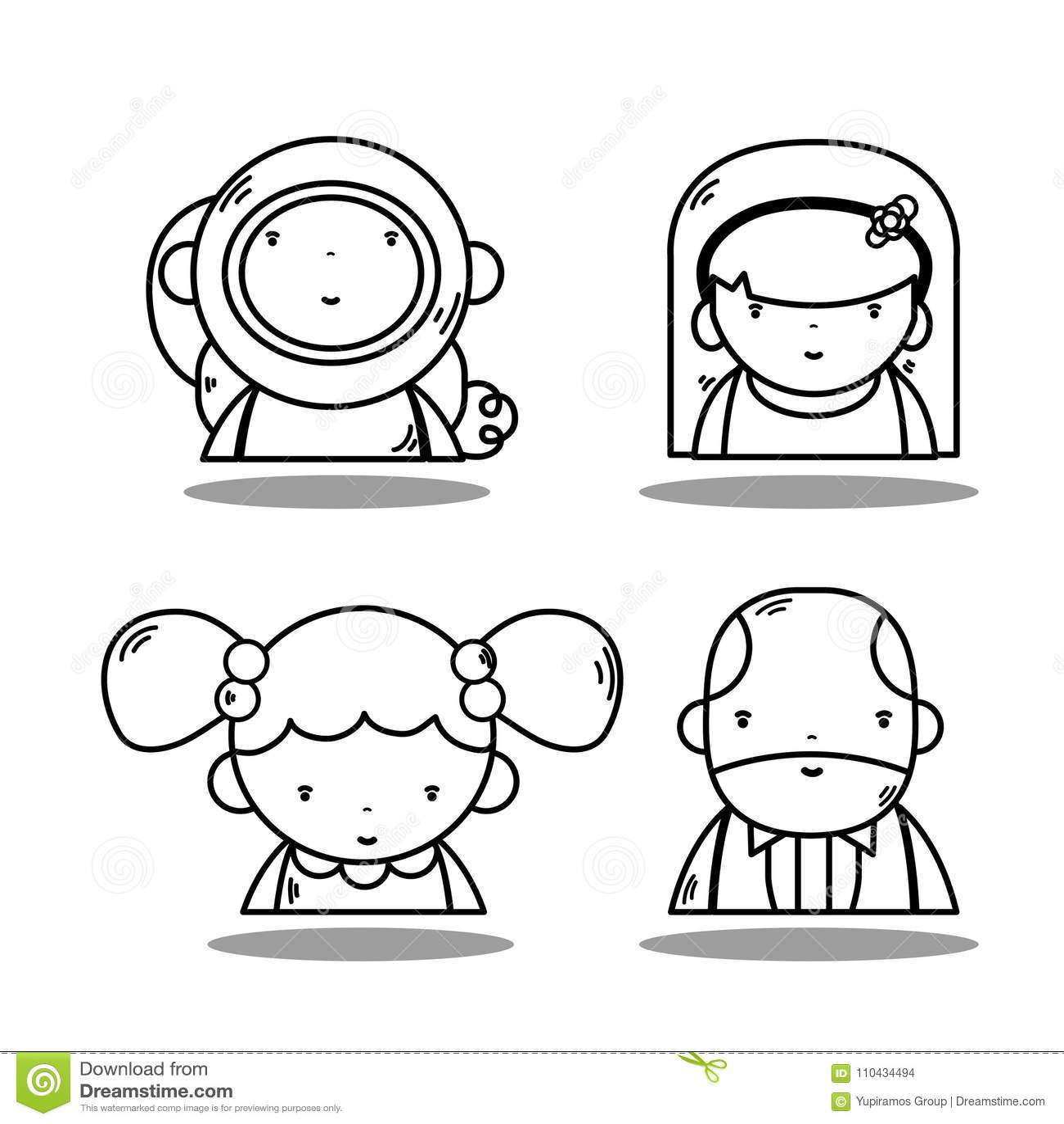 Avatar kawaiiastronaut met zakenman en vrouwen