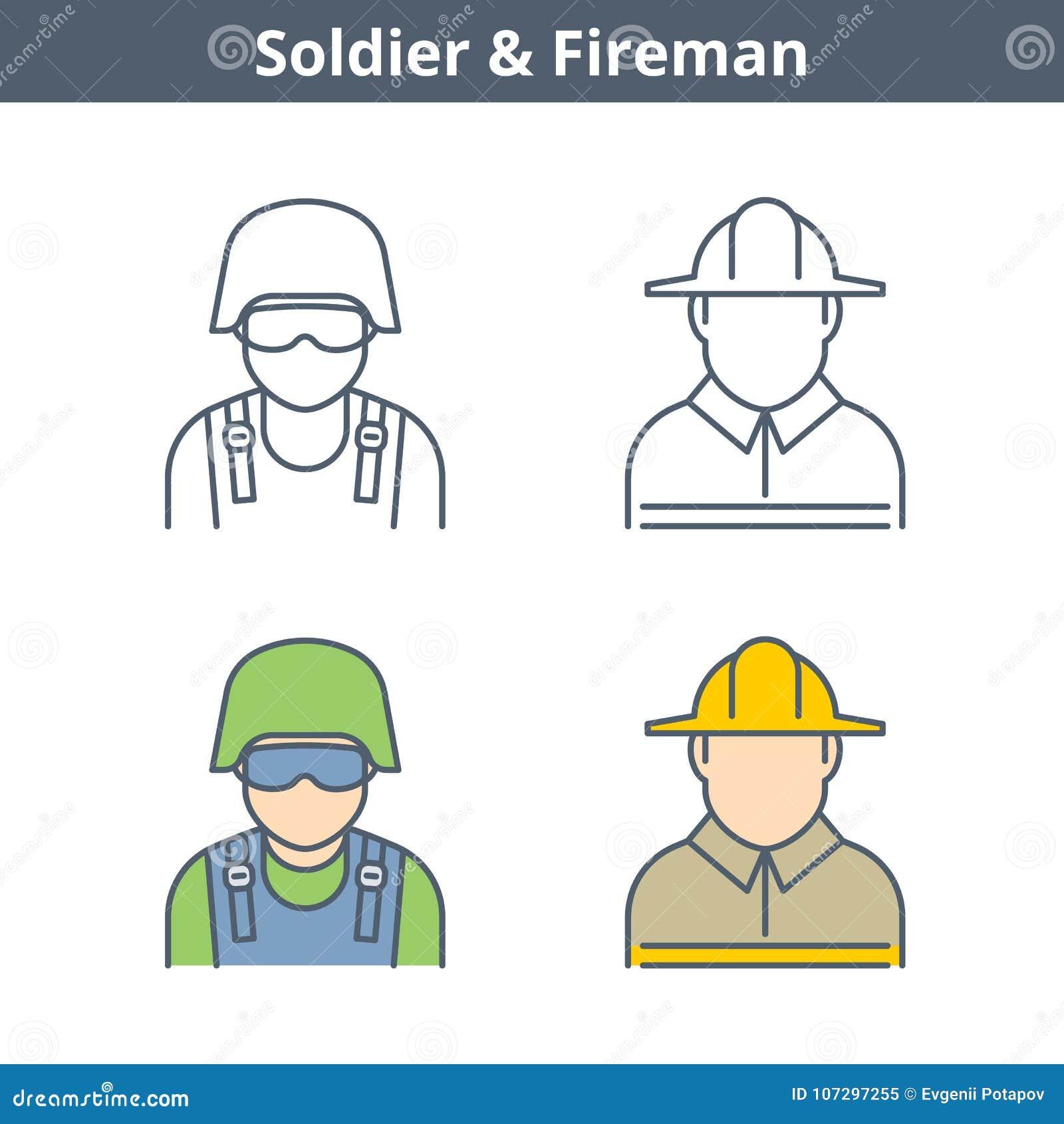 Avatar linear das ocupações ajustado: bombeiro, soldado Ícones do esboço