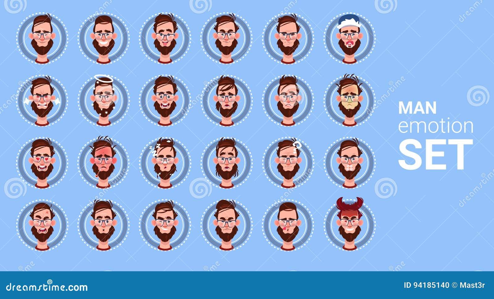Avatar réglé d émotion différente de mâle d icône de profil, collection de visage de portrait de bande dessinée d homme