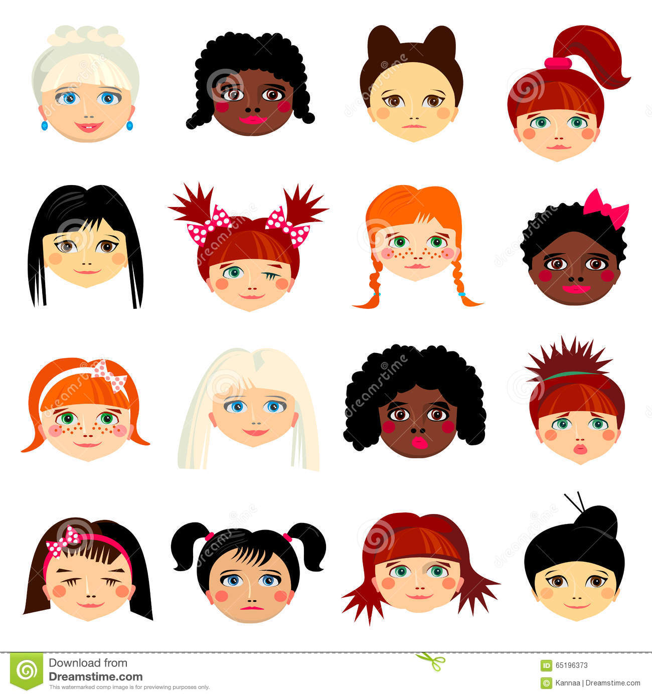 Avatar Woman: Avatar Set With Womens Of Different Ethnicity Stock Vector
