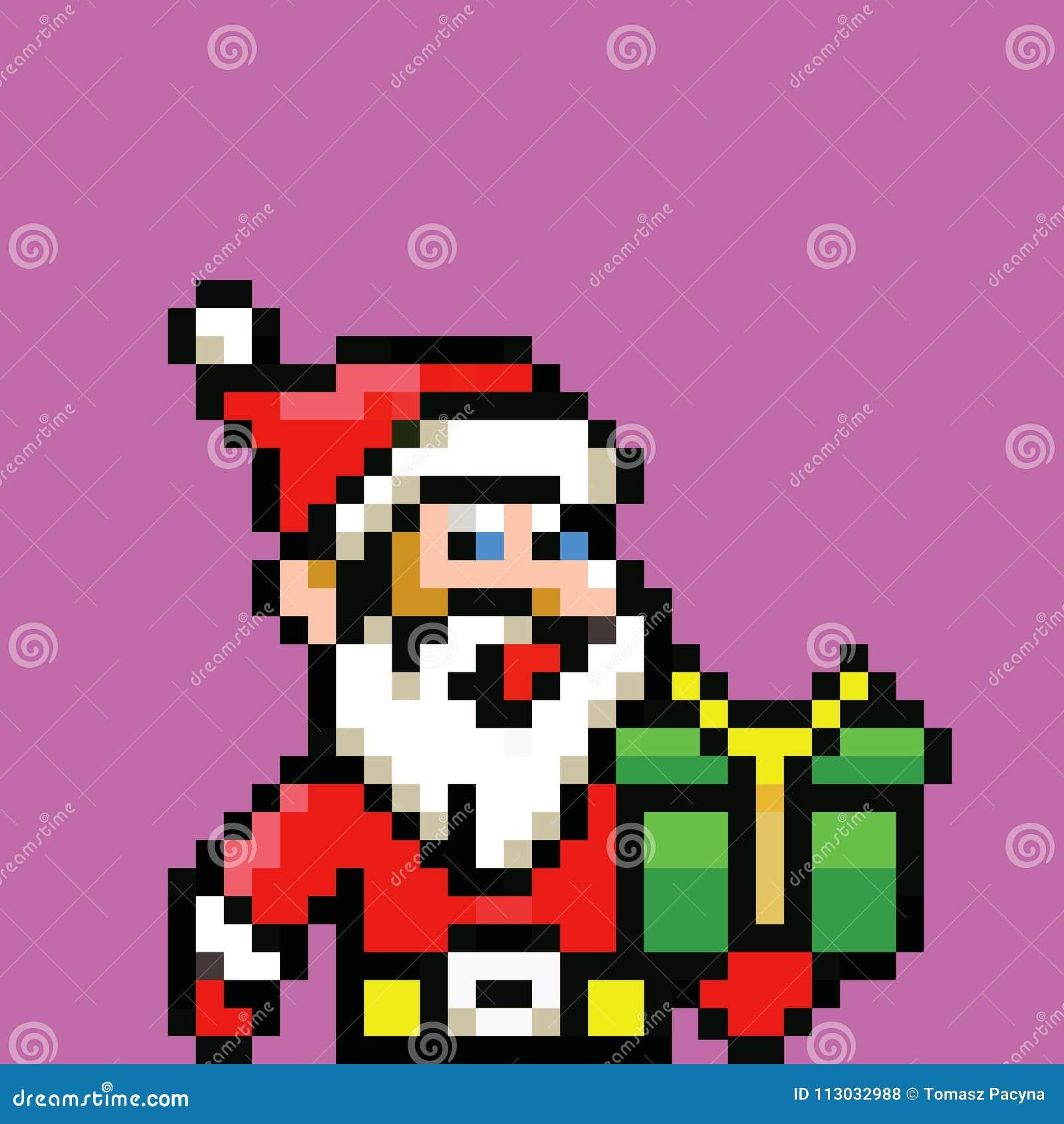 Avatar Simple Du Père Noël Rétro Illustration De Pixel