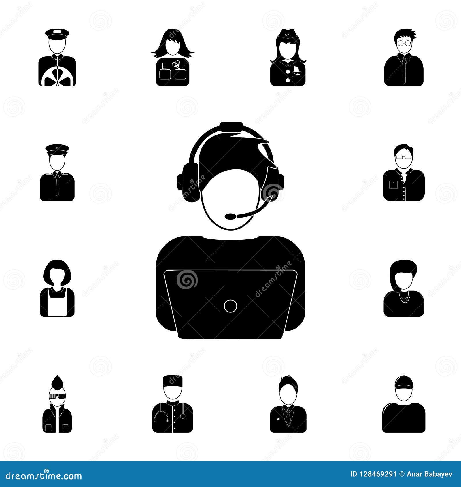 Avatar IT specjalisty ikona Szczegółowy set avatars zawód ikony Premii ilości graficznego projekta ikona Jeden