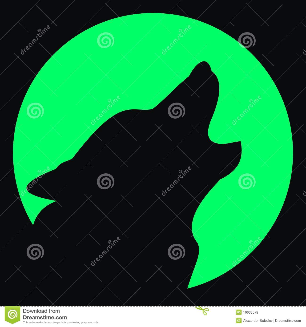 Wolf and moon silhouette royalty free stock photos image 19636078