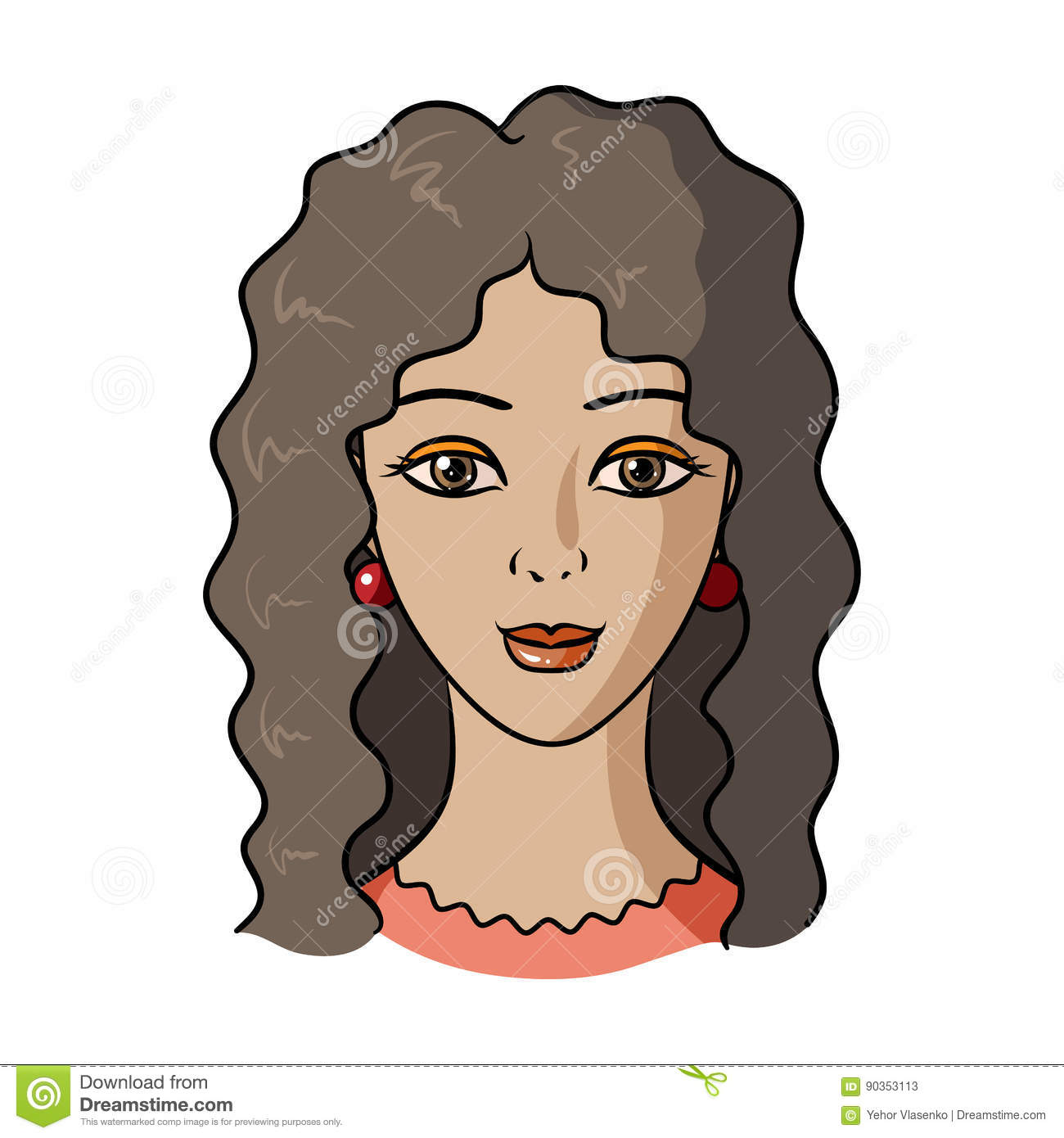 avatar of a woman with curly hairavatar and face single