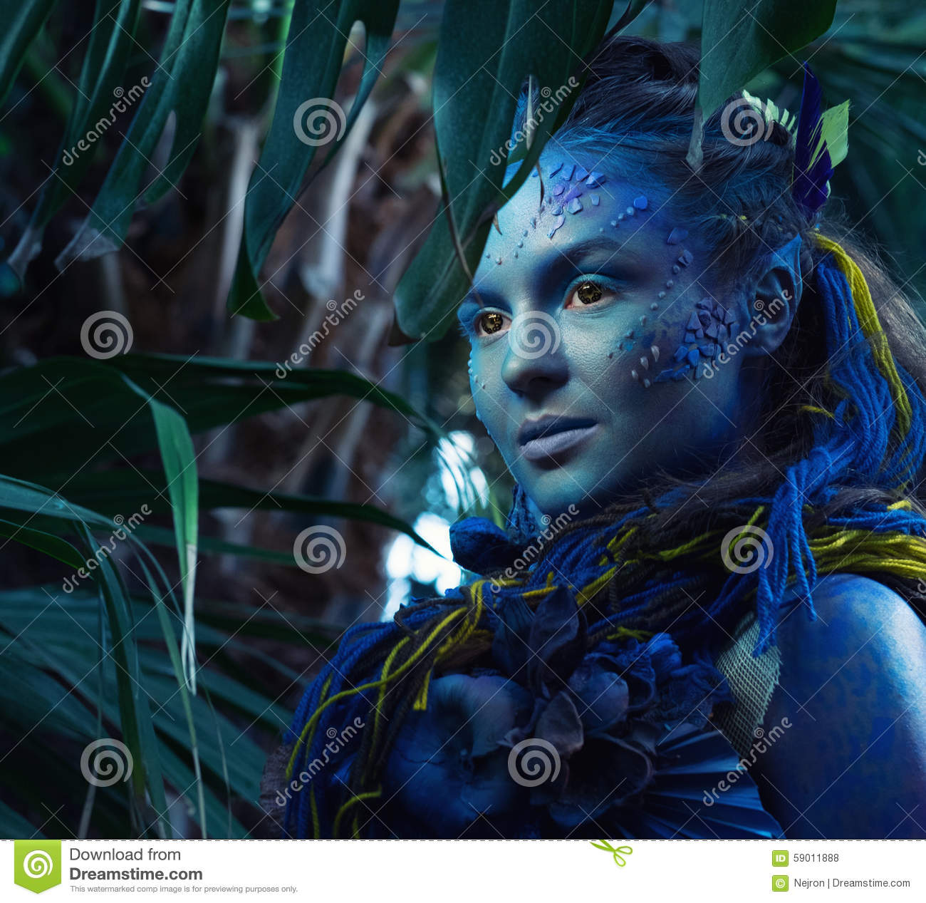 Avatar Woman: Avatar Woman In A Forest Stock Photo. Image Of Enchanted