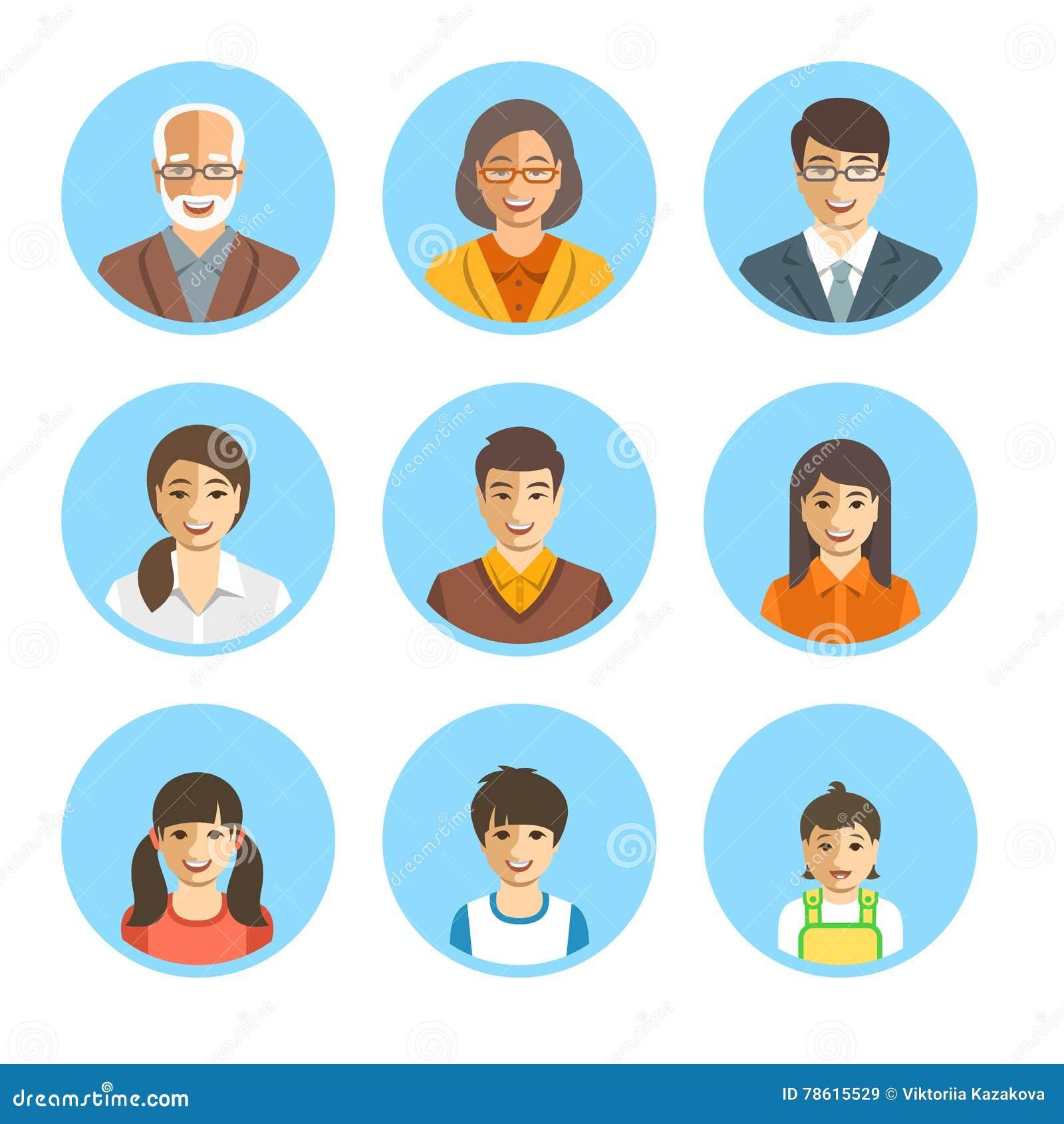 Avatares planos de las caras felices asiáticas de la familia fijados