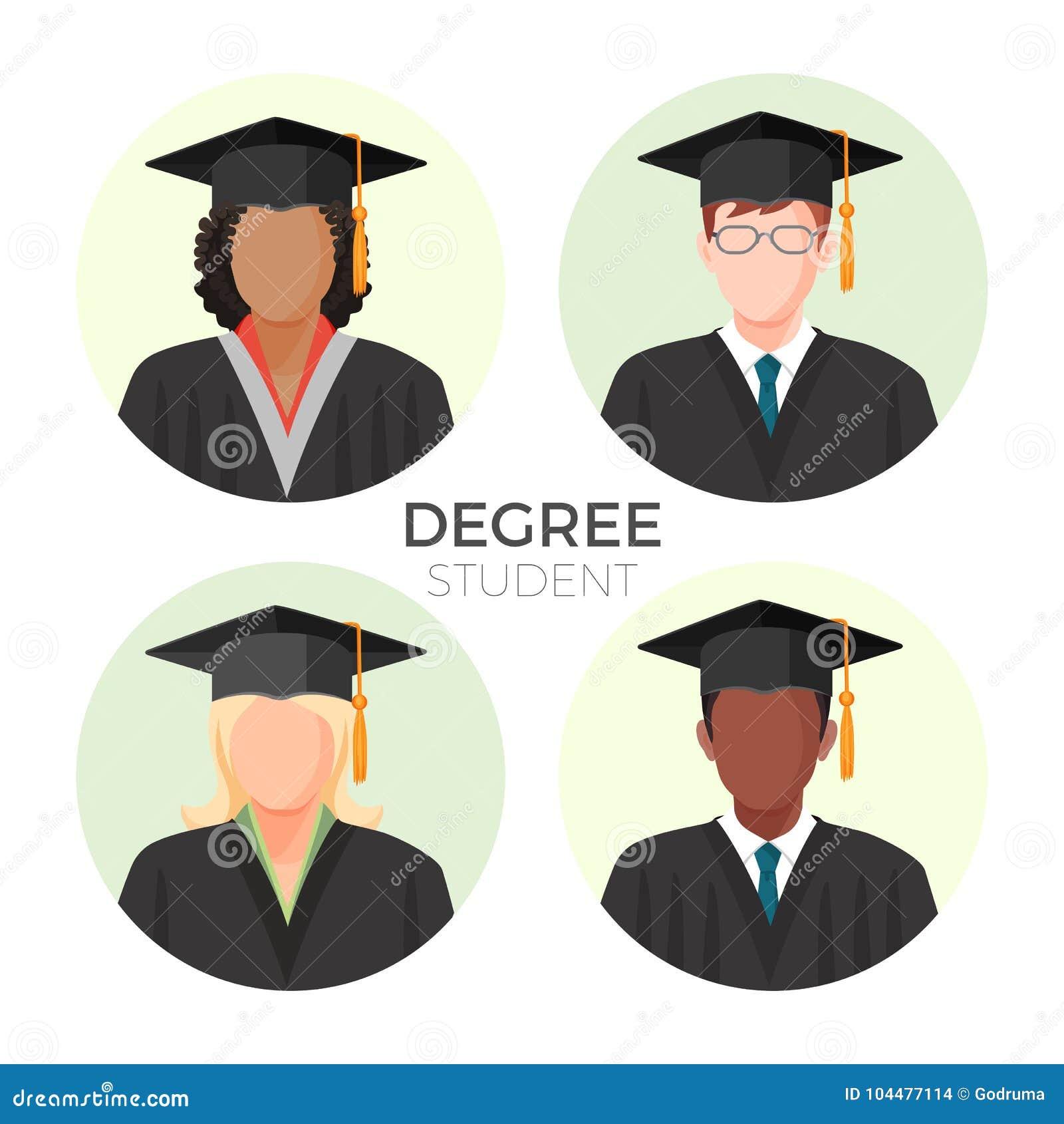 Avatares, varones y hembra anónimos del estudiante del grado en casquillos del birrete