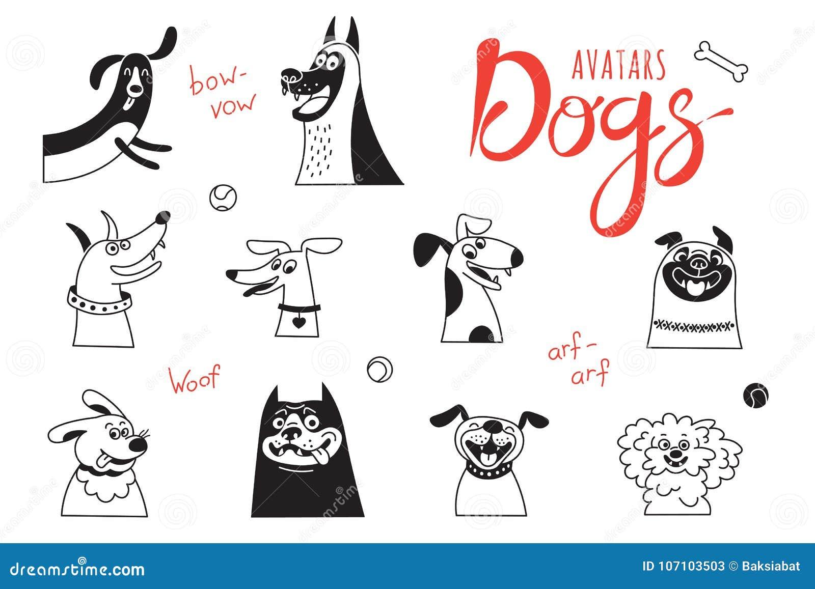 Avatarhundkapplöpning Den roliga varv-hunden, lycklig mops, gladlynta byrackor och annan föder upp