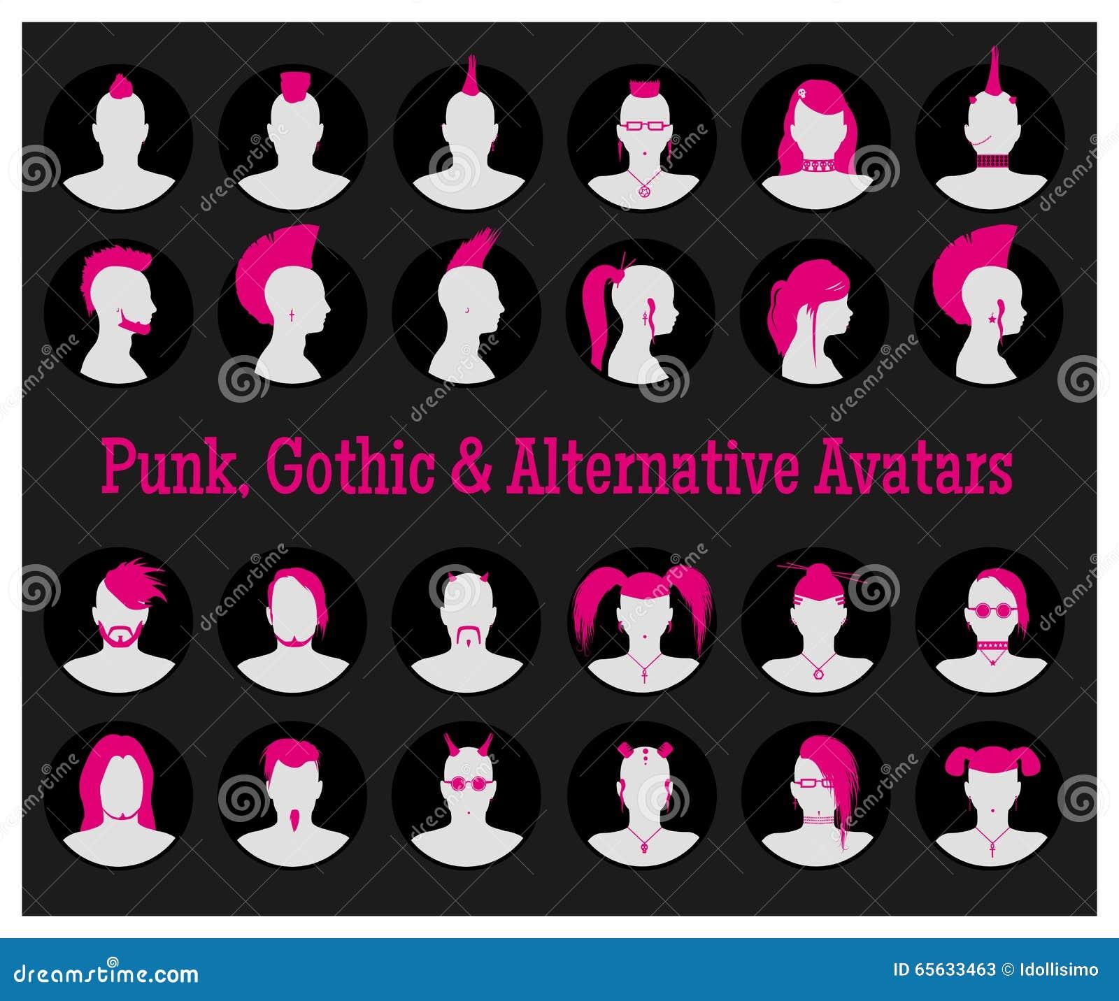 Avatars anonymes de Goth, de punk et d alternative