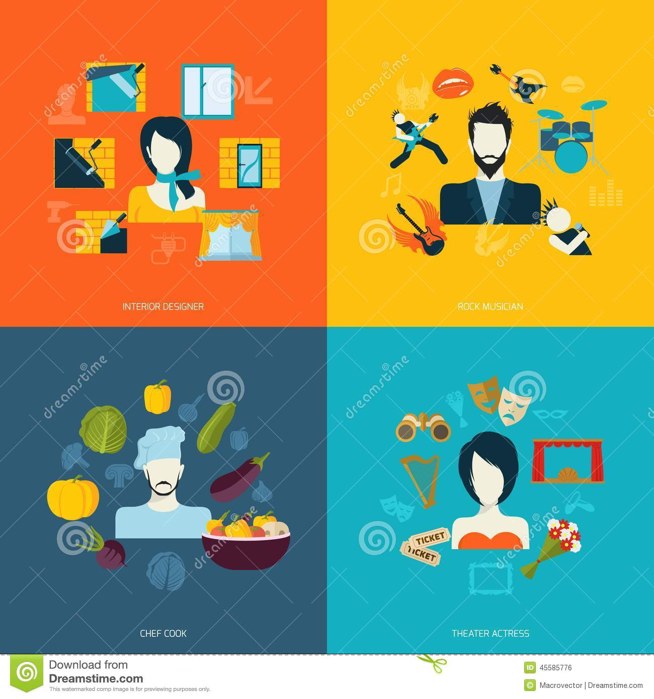 Actress Chef Cook Designer Flat Icons Illustration Interior
